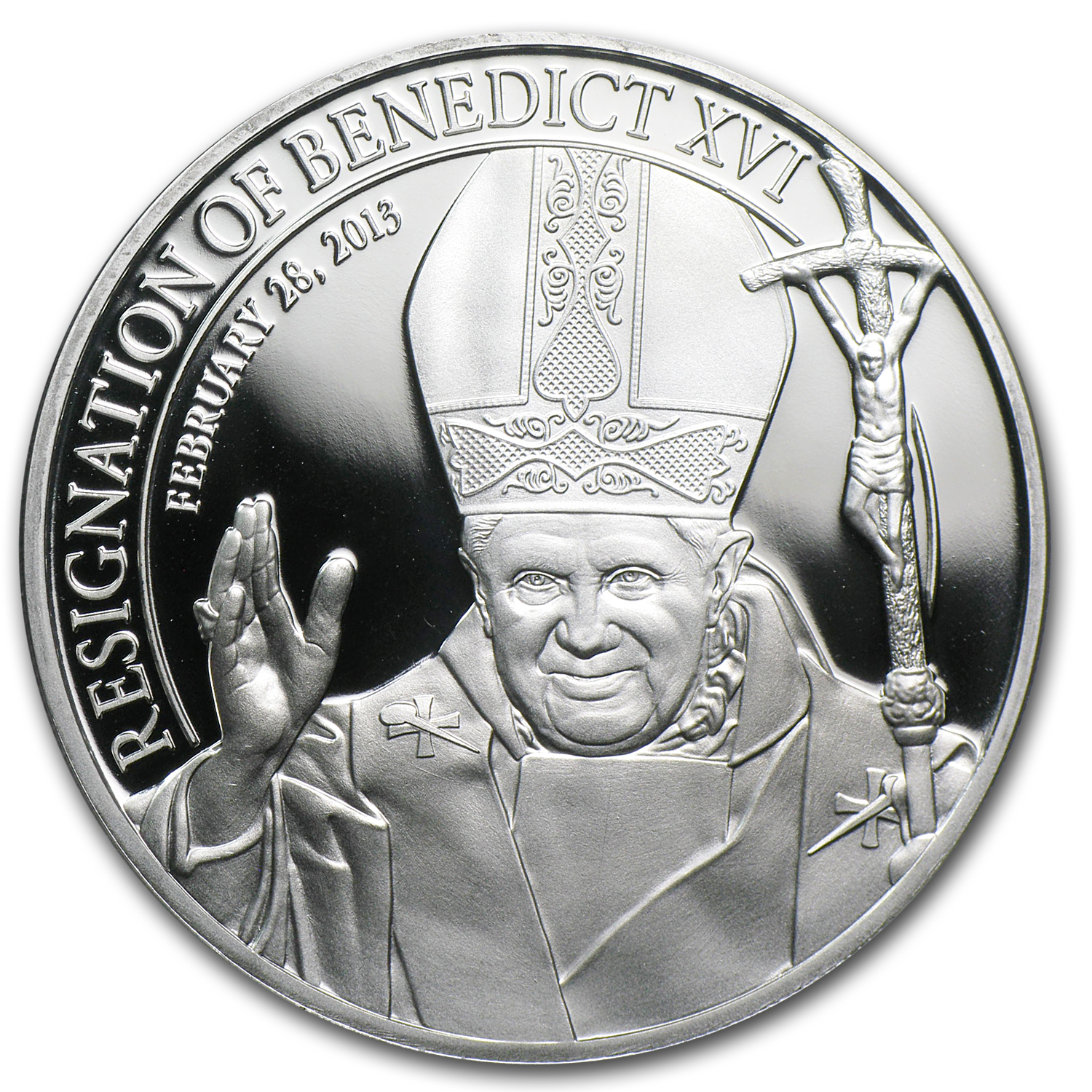 2013 Cook Islands Silver $5 Resignation of Pope Benedict XVI