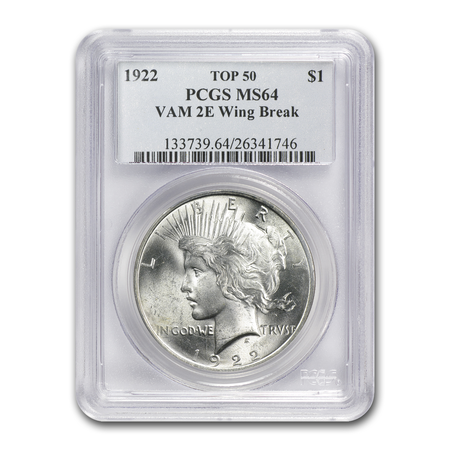 1922 Peace Dollar MS-64 PCGS VAM-2E Wing Die Break Top-50