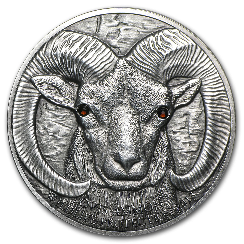 2013 Mongolia Silver 500 Togrog Argali Ovis Ammon Silver