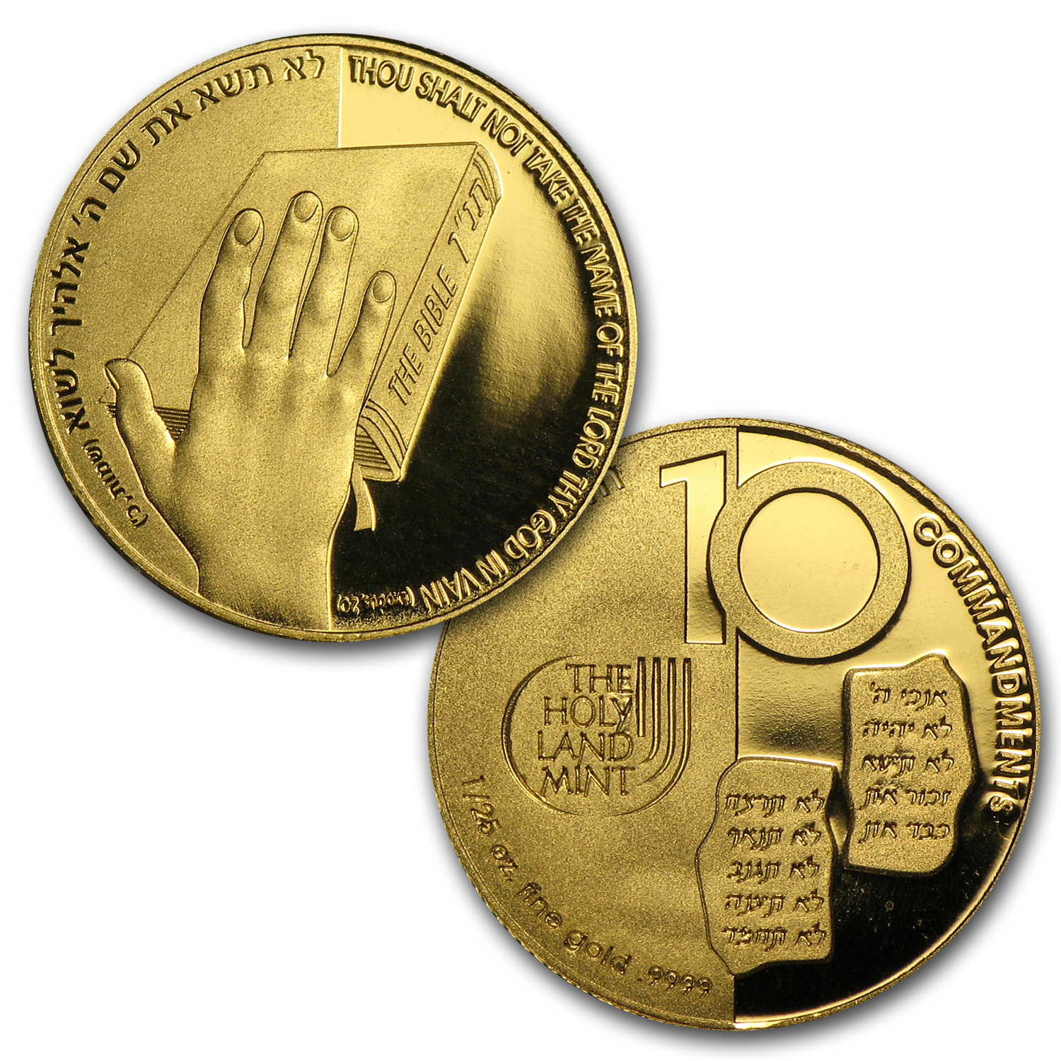 Holy Land Mint 10-Coin 1/25 oz Gold 10 Commandments Set