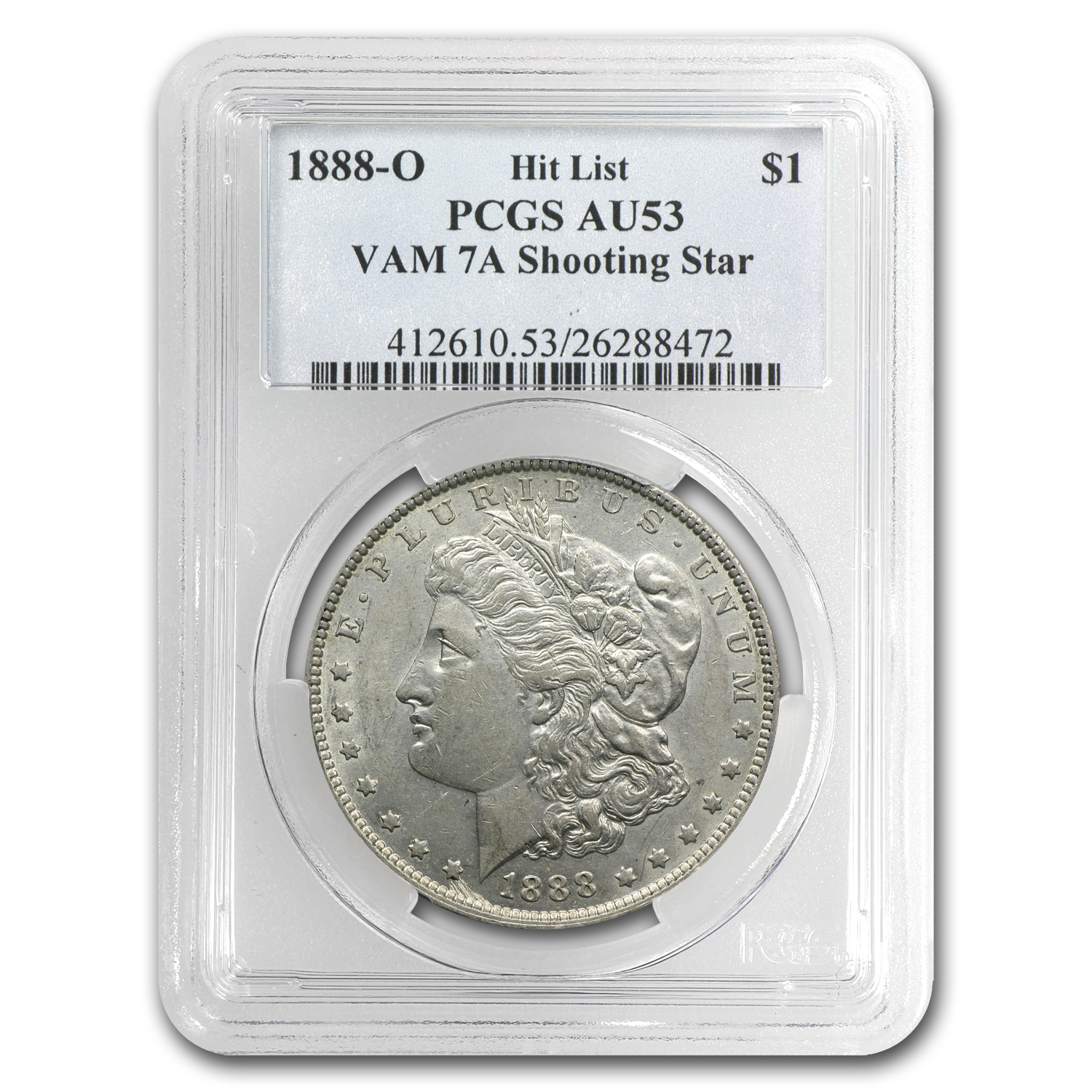 1888-O Morgan Silver Dollar AU-53 PCGS VAM-7A Shooting Star