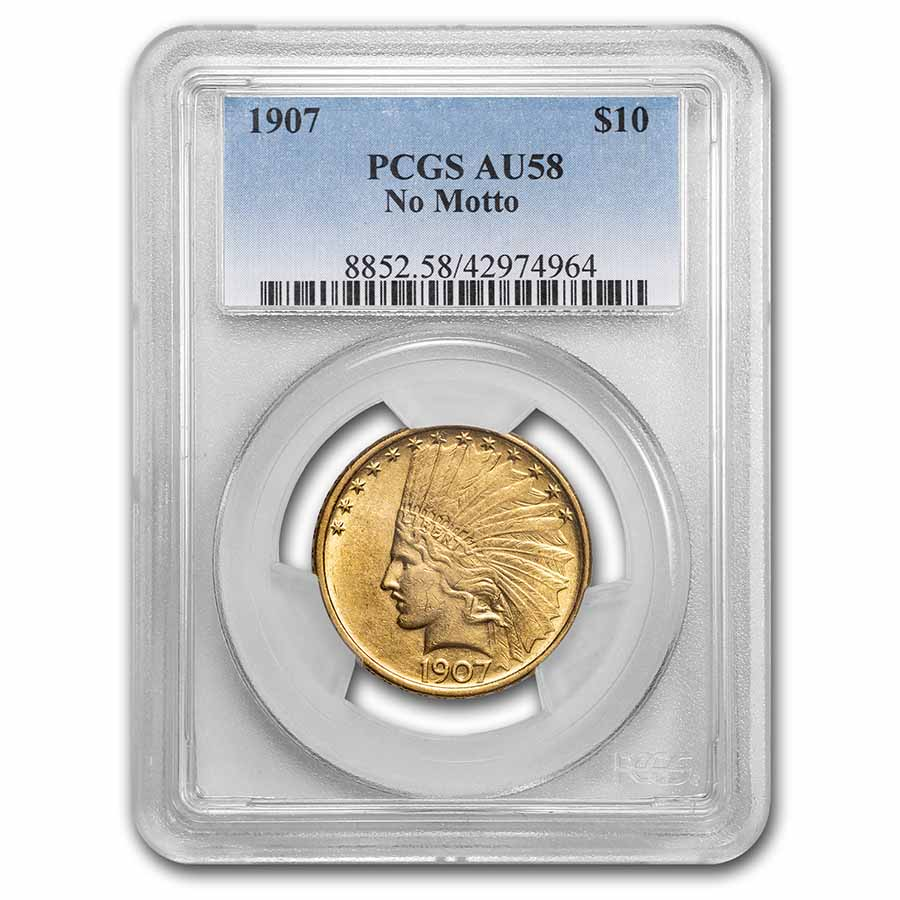 1907 $10 Indian Gold Eagle - No Motto - AU-58 PCGS CAC