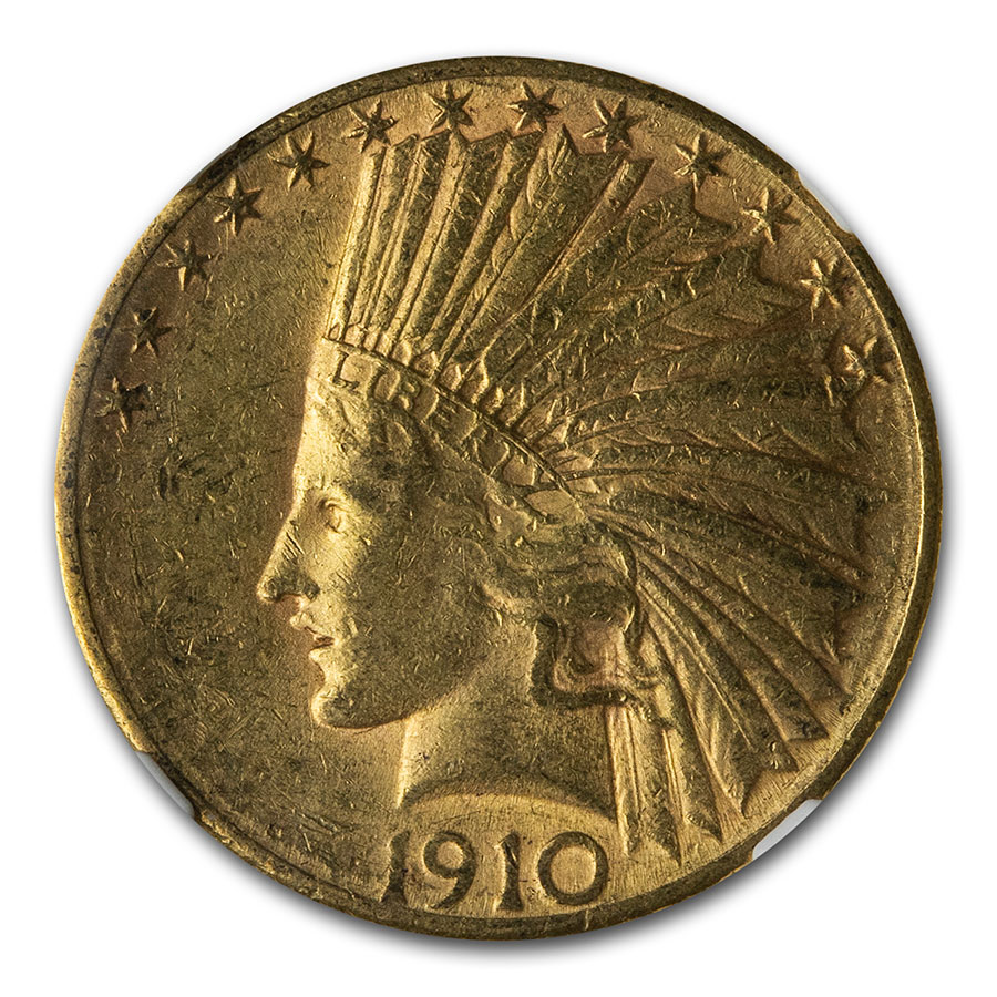 1910-S $10 Indian Gold Eagle - AU-55 NGC