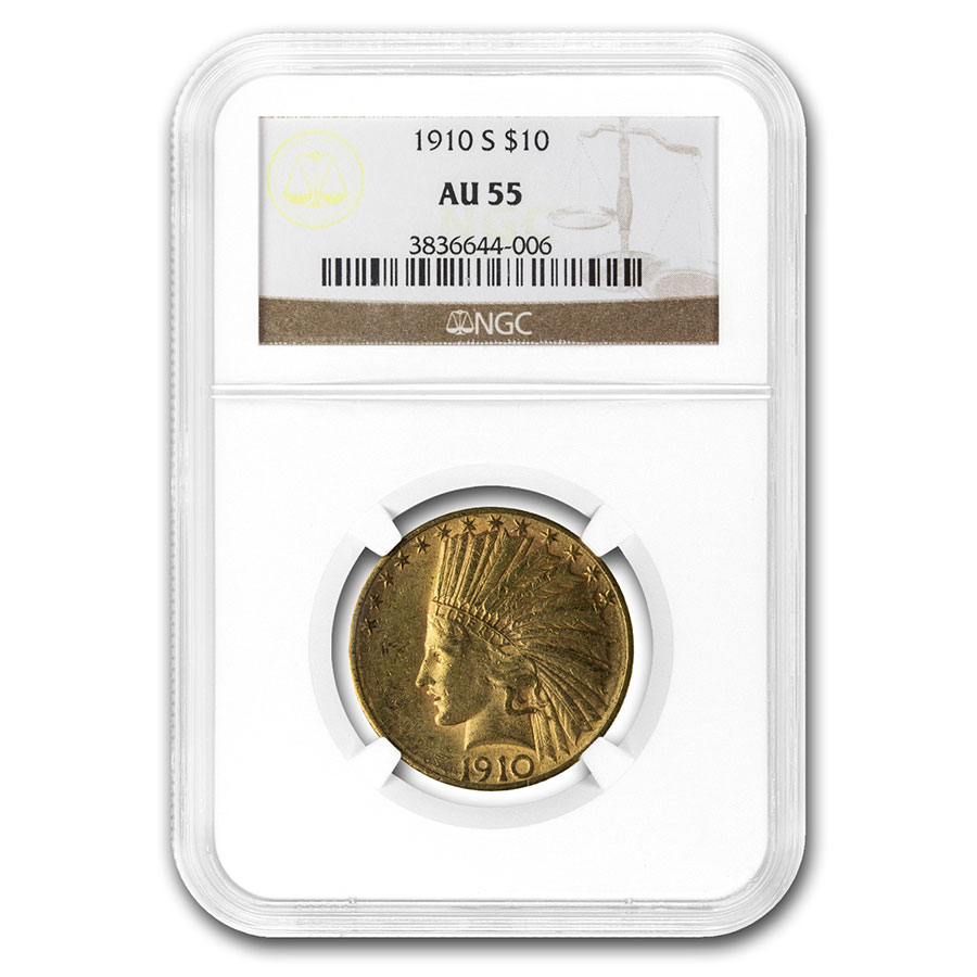 1910-S $10 Indian Gold Eagle AU-55 NGC