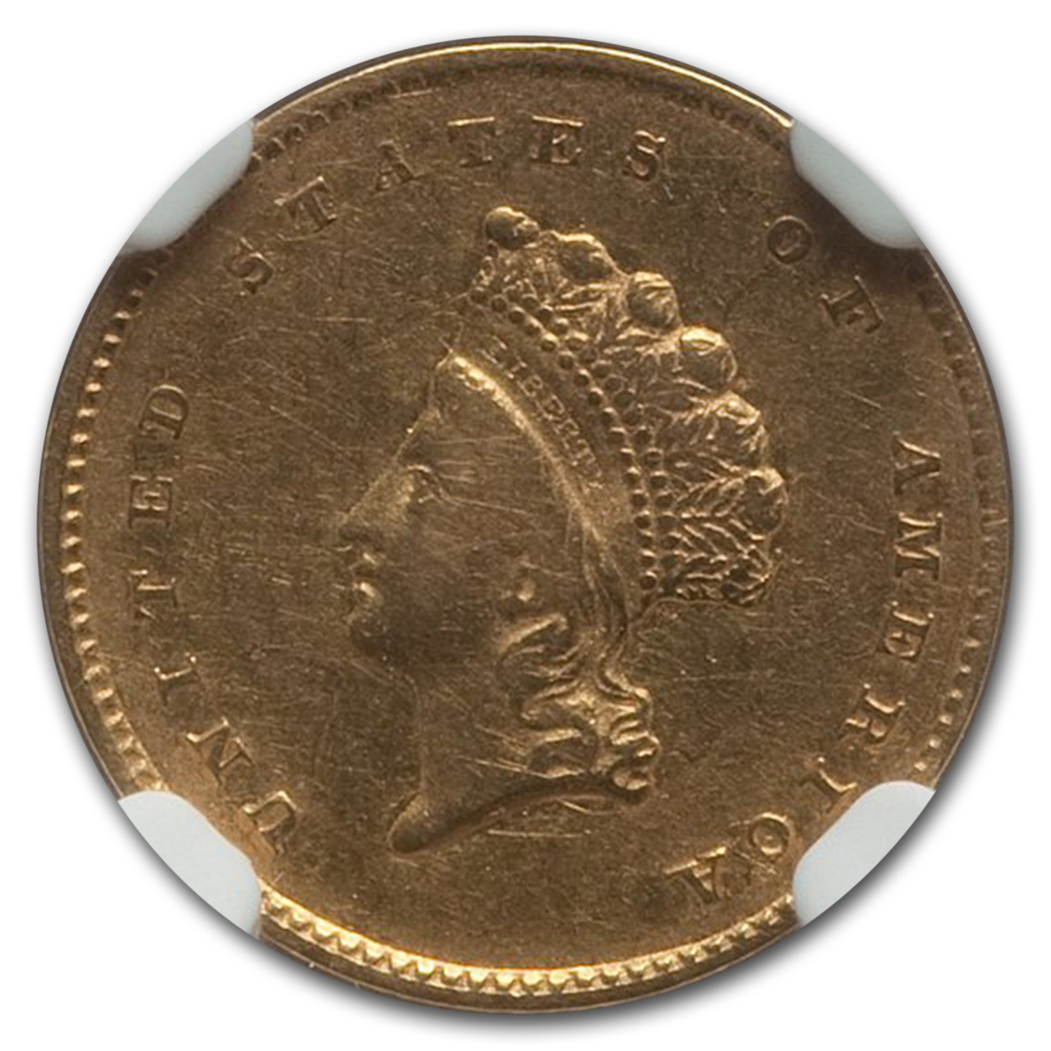 1855 $1 Indian Head Gold - Extra Fine-45 NGC