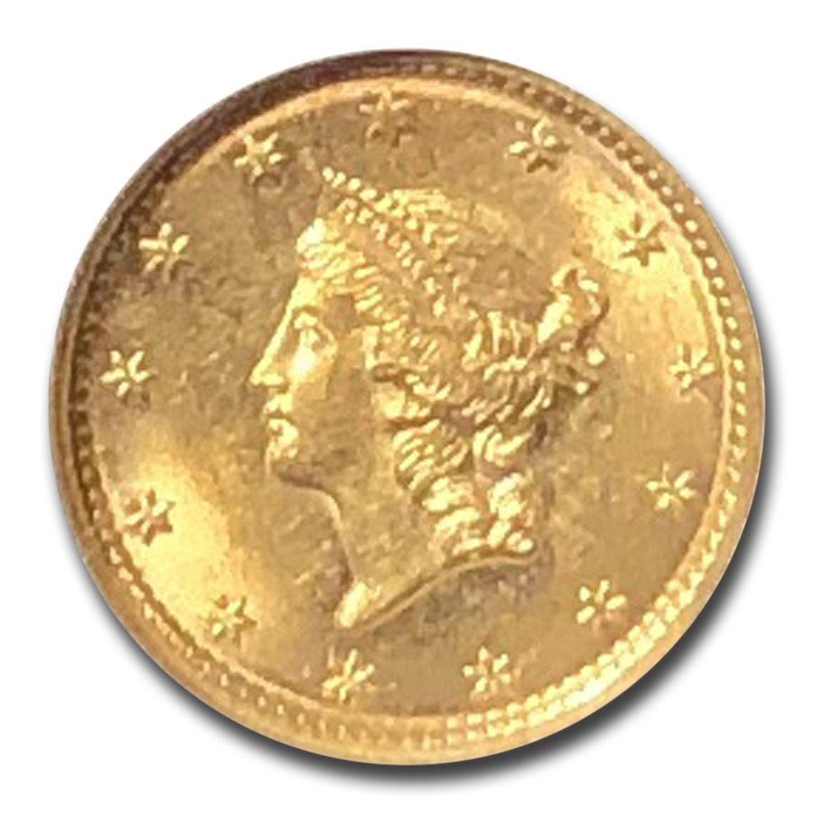 1849 $1 Liberty Gold - Open Wreath No L - MS-64 NGC