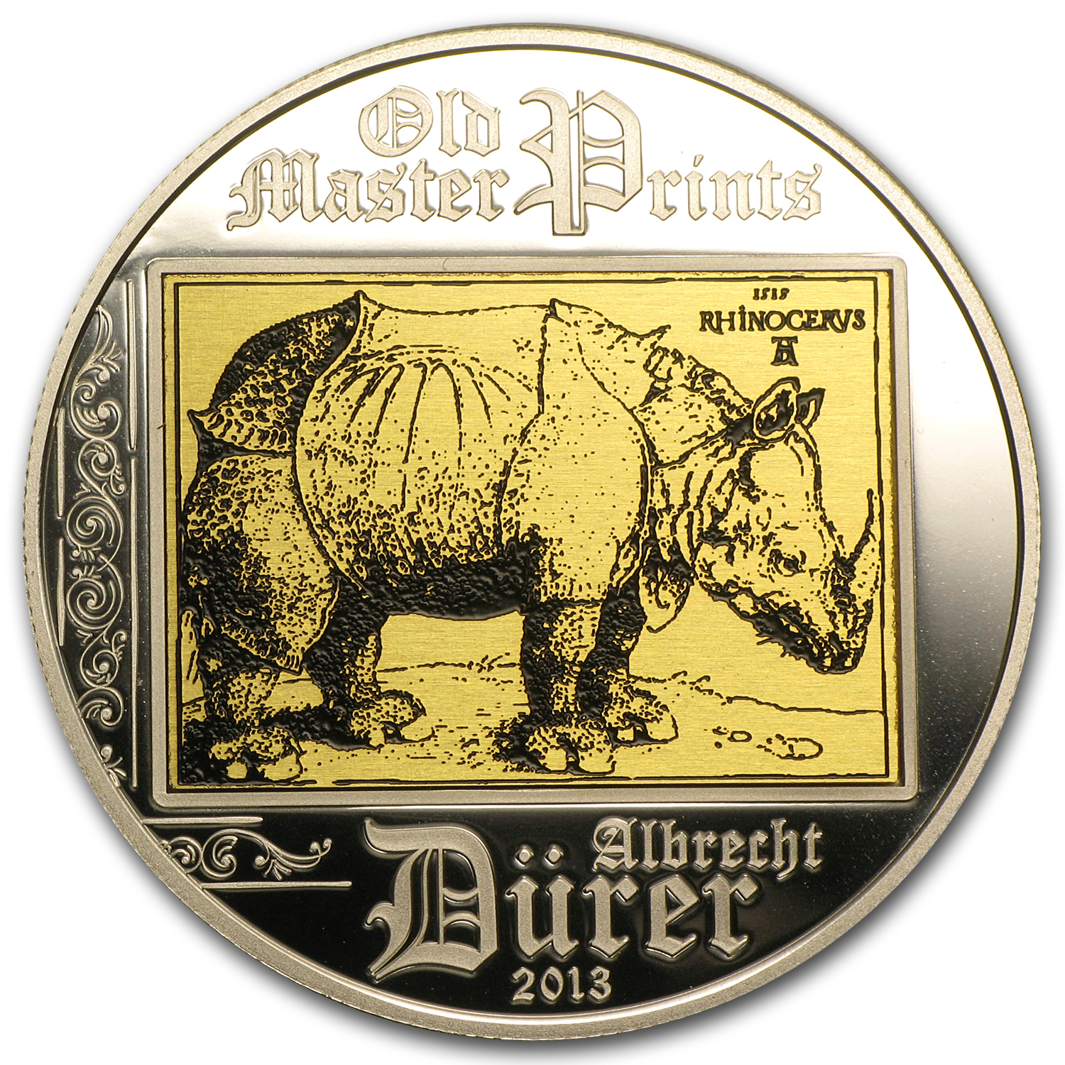 2013 Cook Islands Silver Proof $5 Albrecht Dürer Rhinoceros