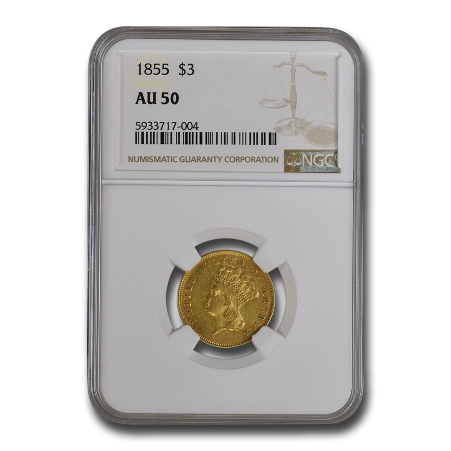 1855 $3 Gold Princess - AU-50 NGC