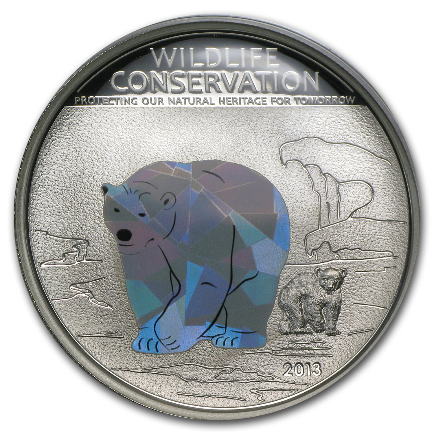 Cook Islands 2013 Silver Wildlife Conservation -Polar Bear Prism
