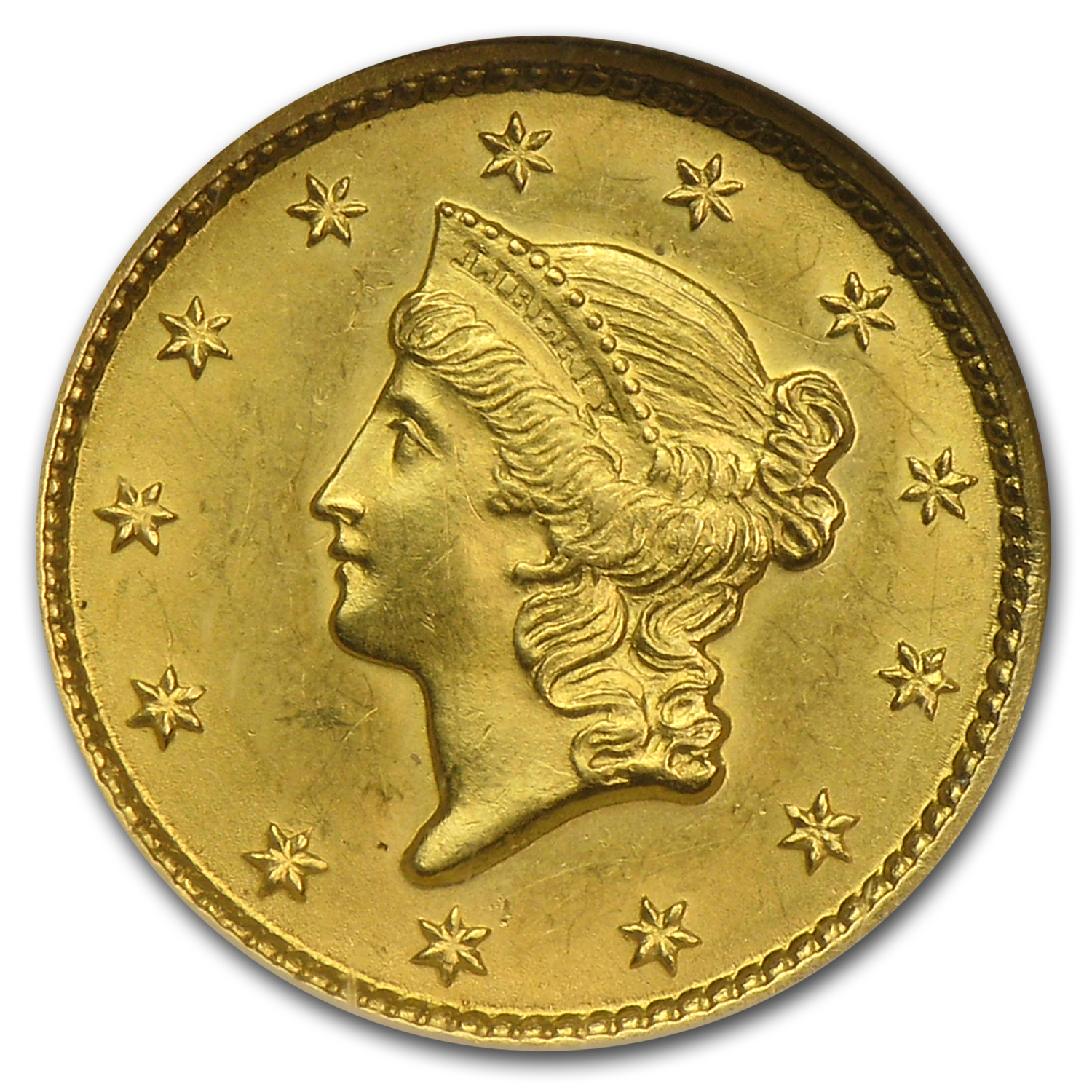 1849 $1 Liberty Gold Sm Head Open Wreath w/L MS-63 NGC