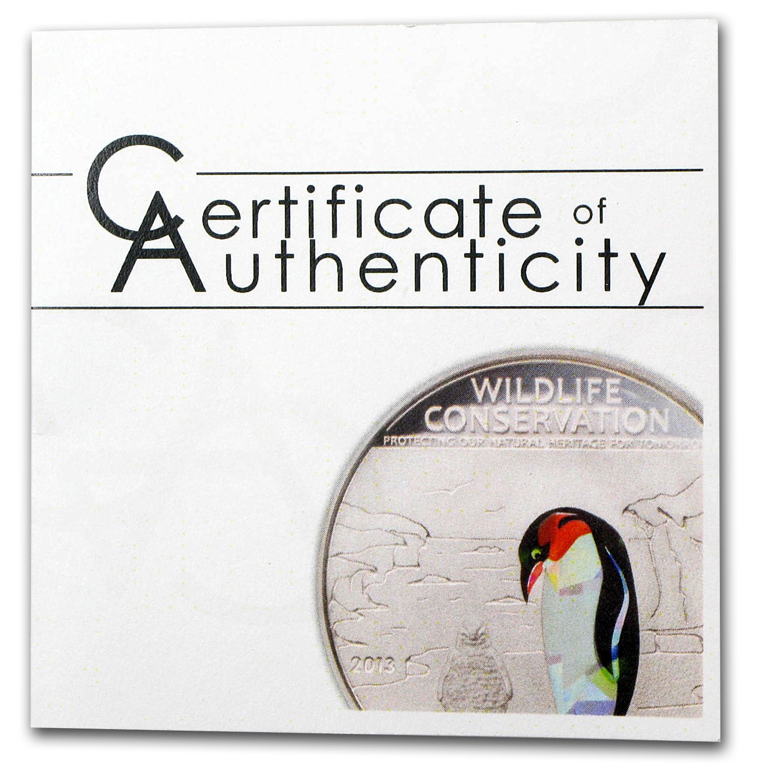 2013 Cook Islands Silver Wildlife Conservation Penguin Prism