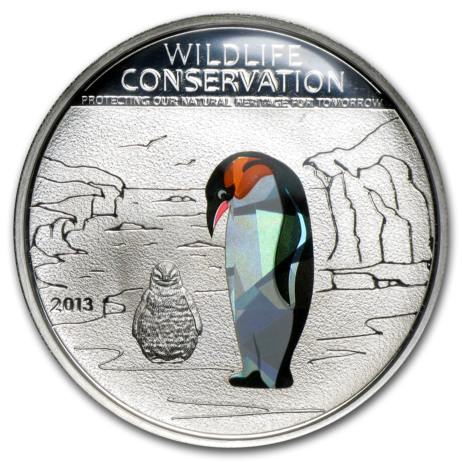 Cook Islands 2013 Silver Wildlife Conservation - Penguin - Prism