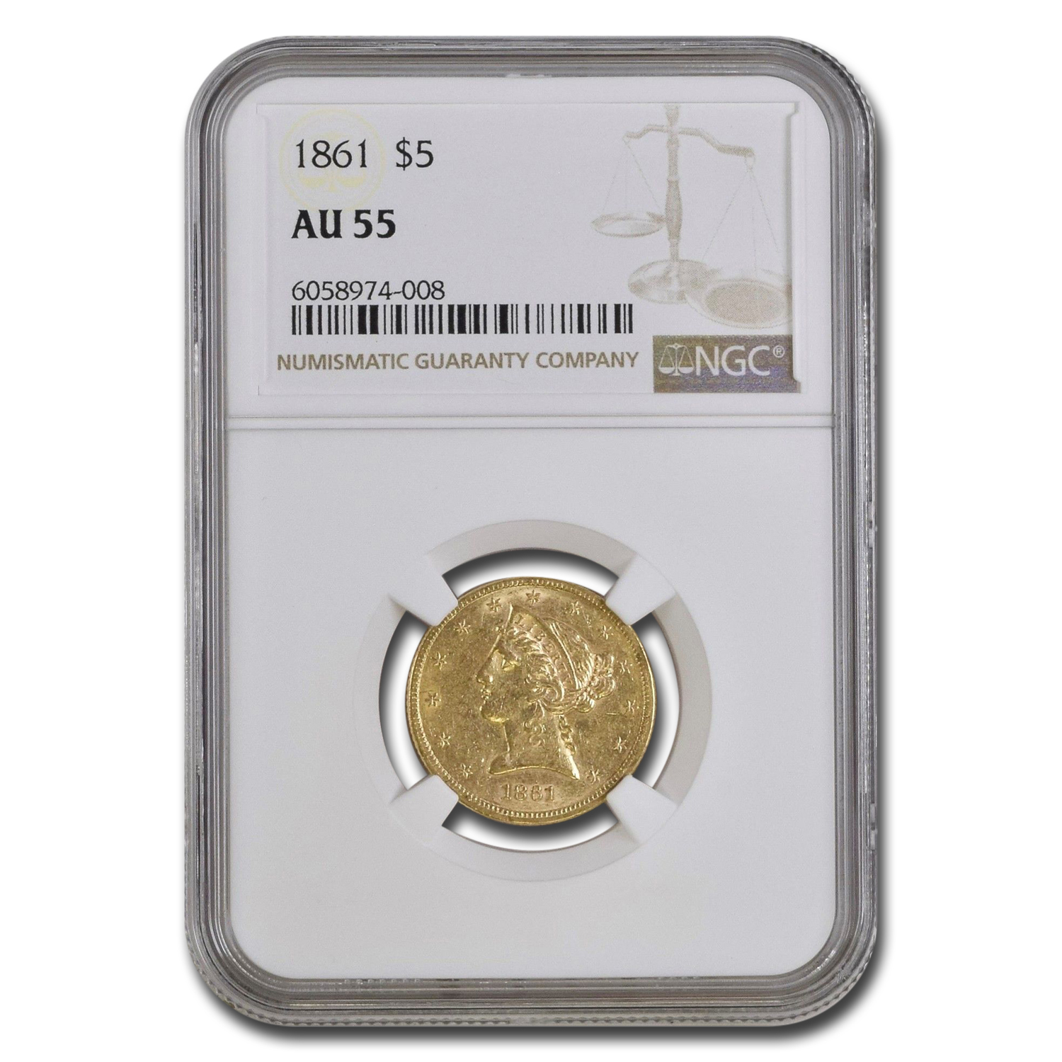 1861 $5 Liberty Gold Half Eagle AU-55 NGC