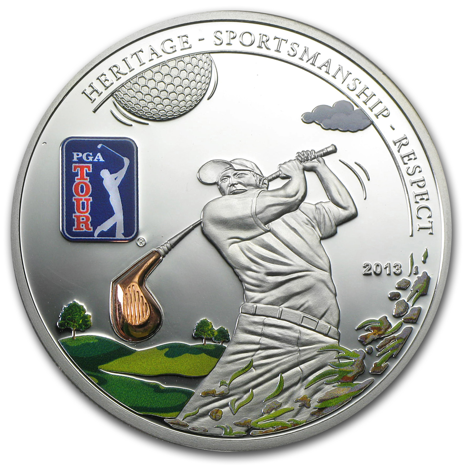 2013 Cook Islands Proof Silver $5 PGA Tour Golf Club