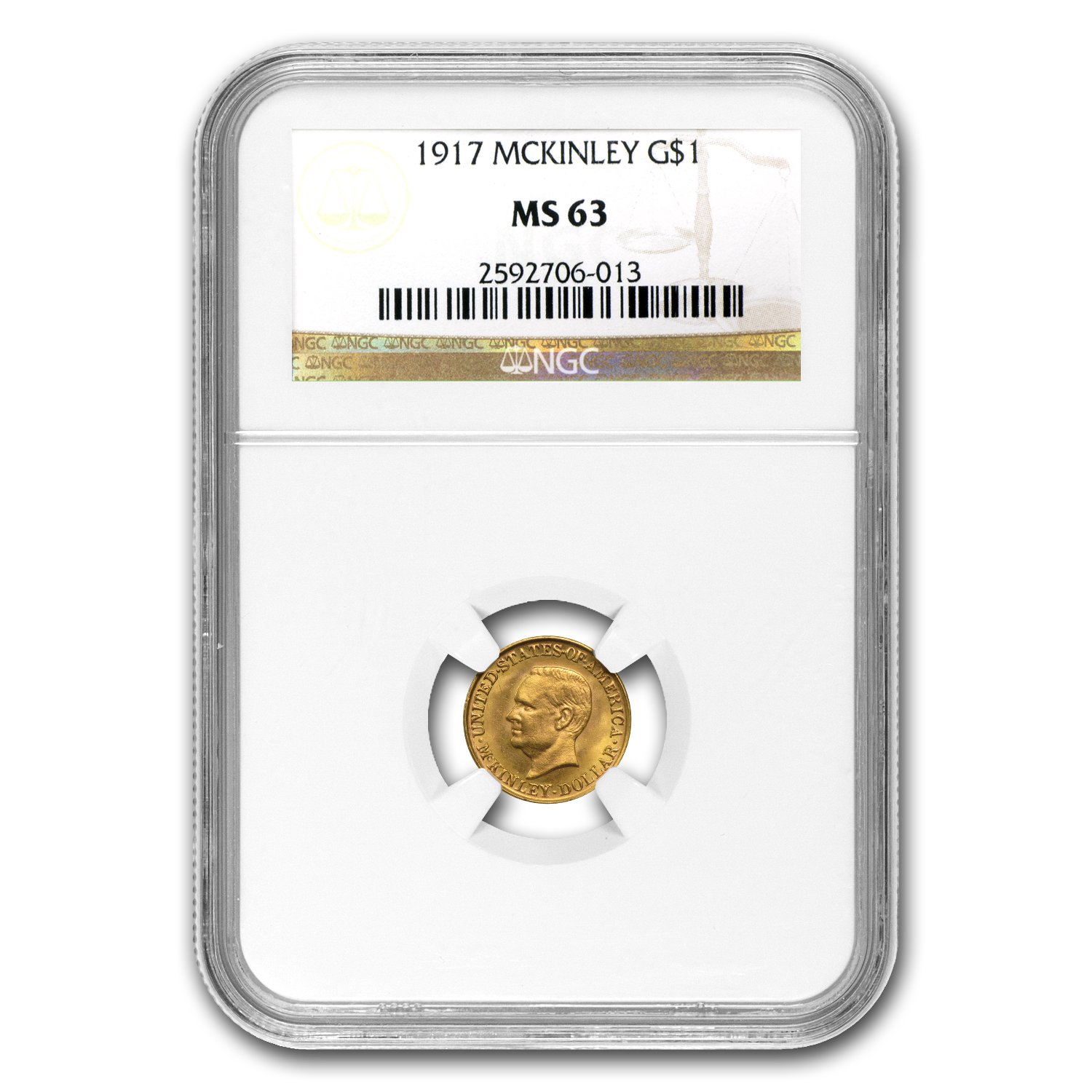 1917 Gold $1.00 McKinley MS-63 NGC