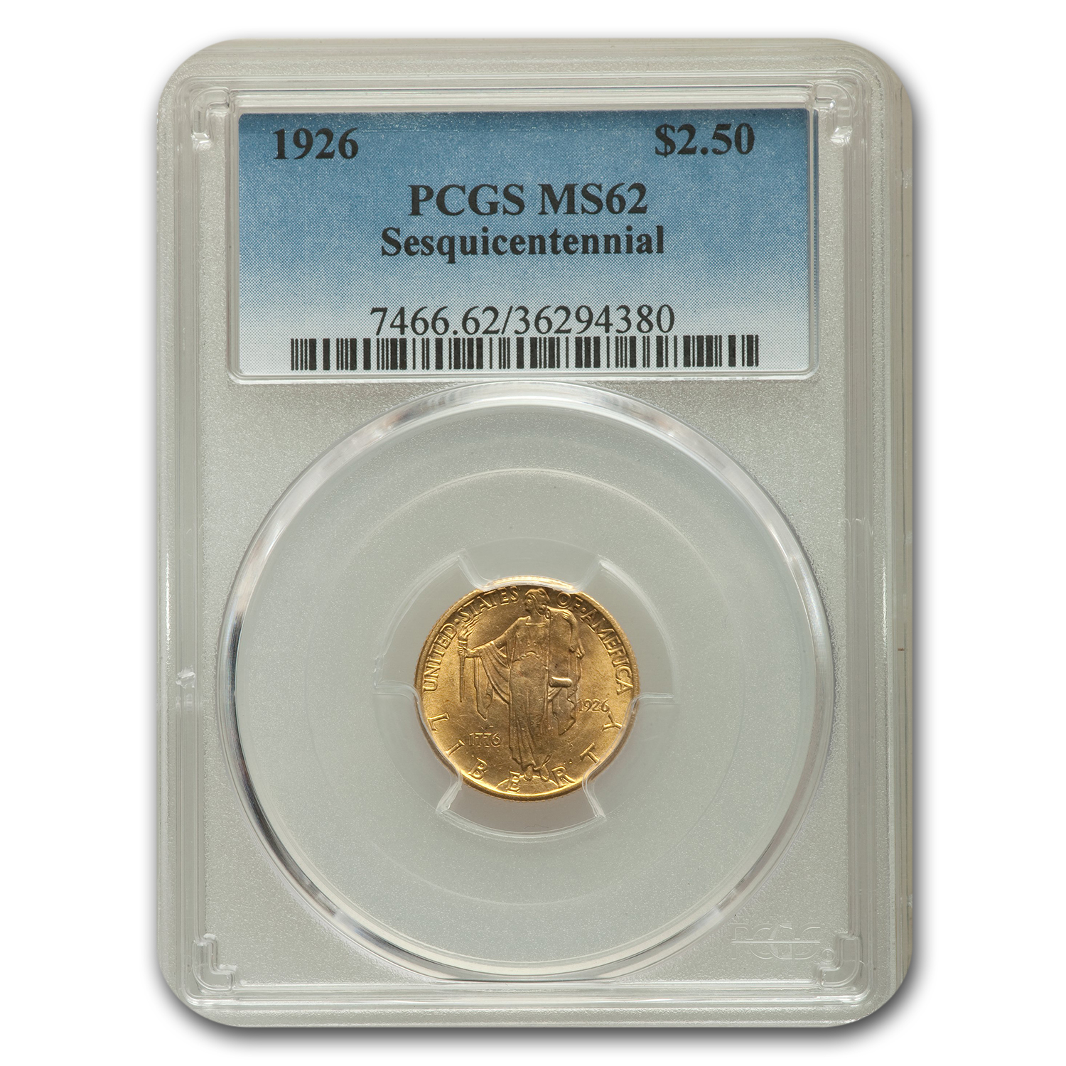 1926 Gold $2.50 America Sesquicentennial MS-62 PCGS