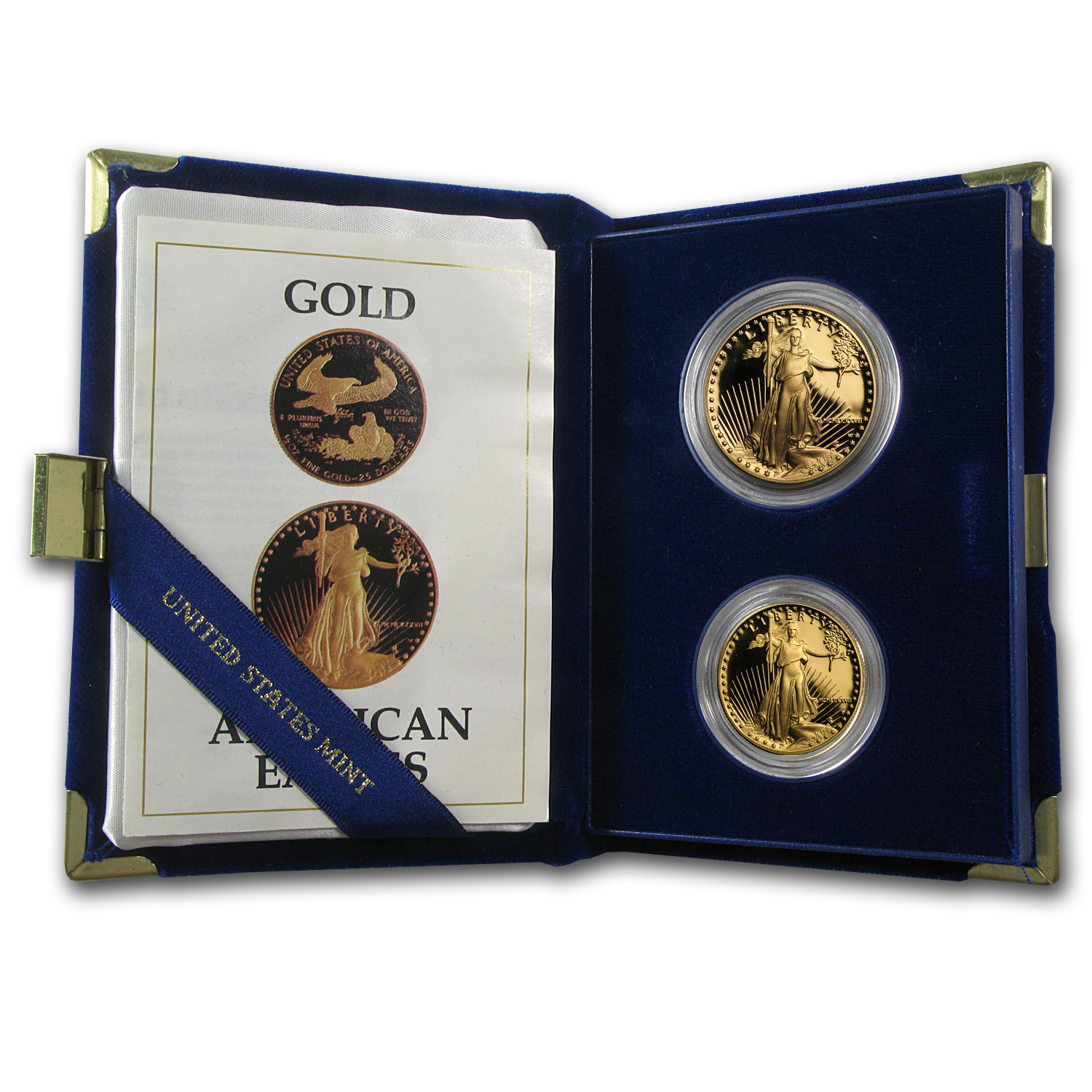 1987-P 2-Coin Proof Gold American Eagle Set (w/Box & Coa)