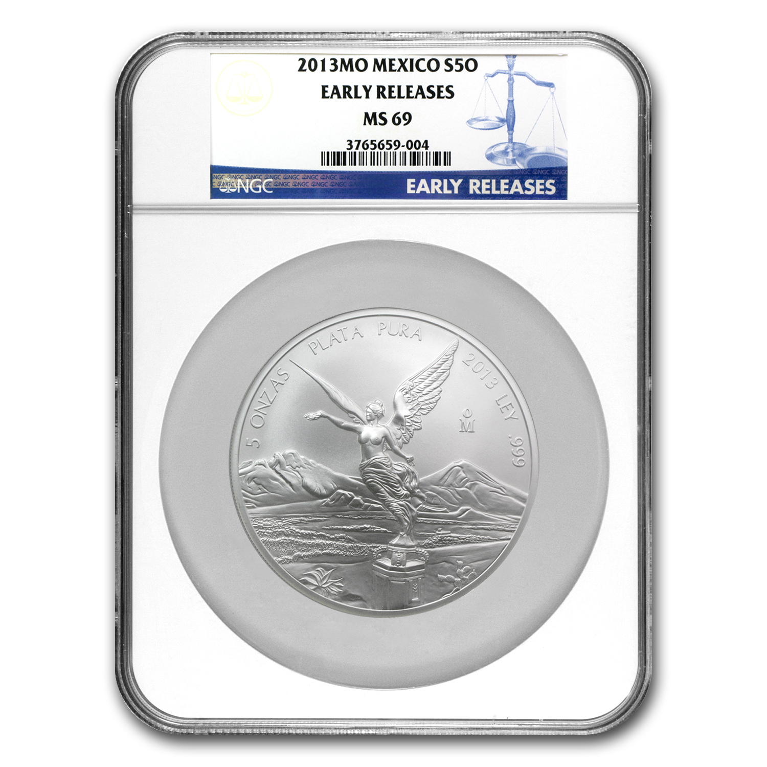 2013 5 oz Silver Mexican Libertad MS-69 NGC (ER) - Registry Set