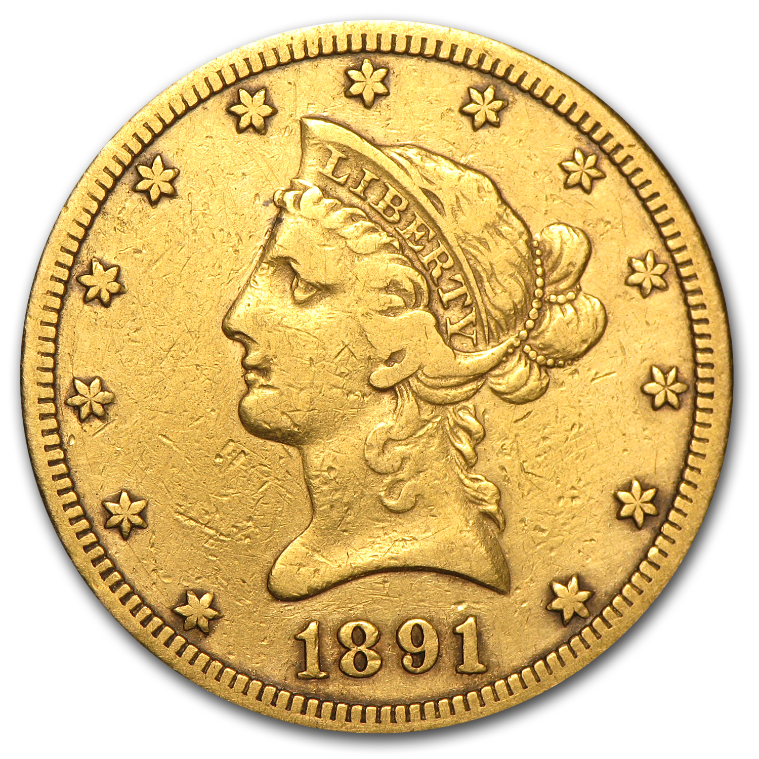 1891-CC $10 Liberty Gold Eagle VF Details (Cleaned)