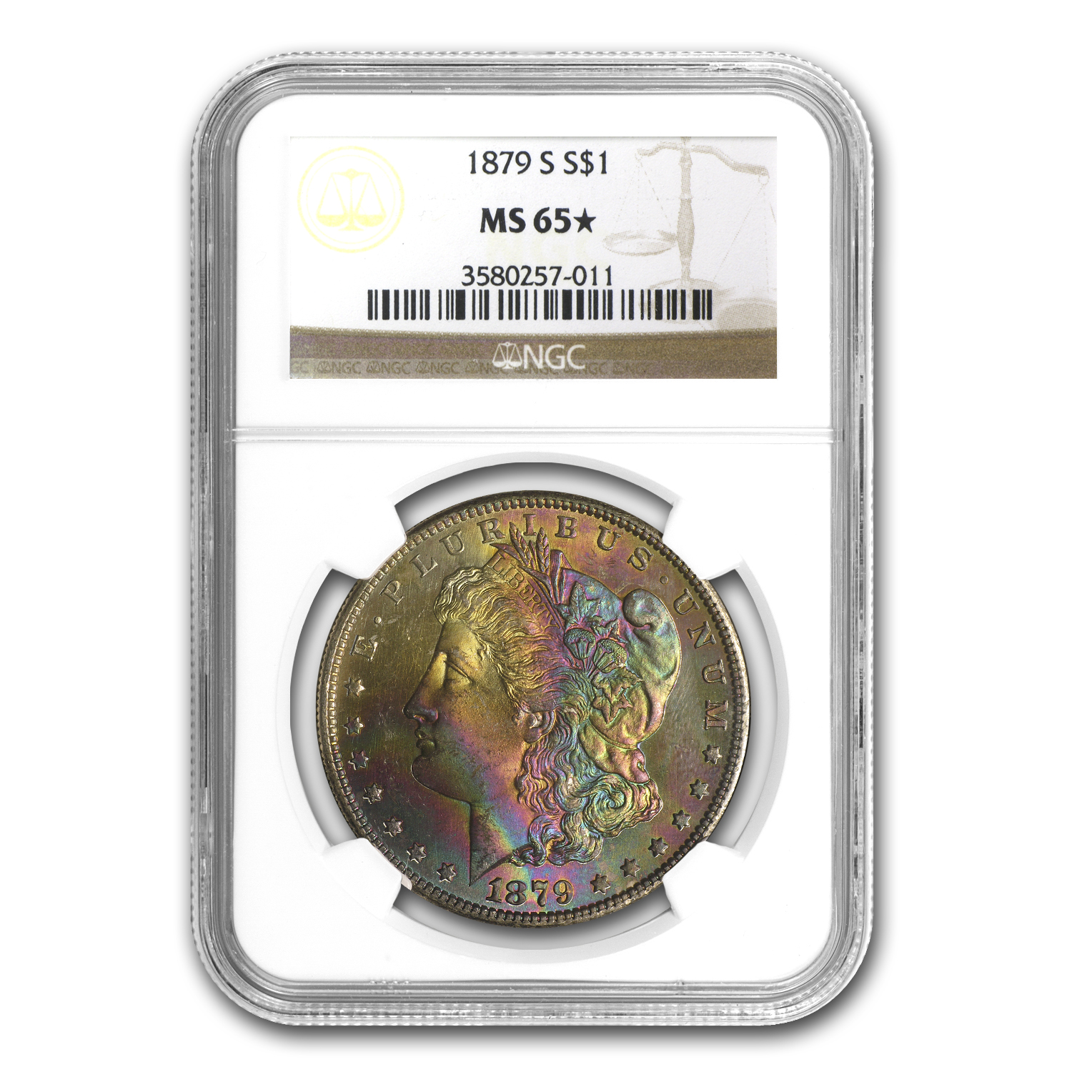 1879-S Morgan Dollar MS-65 Star NGC (CAC, Rainbow Obv Toning)