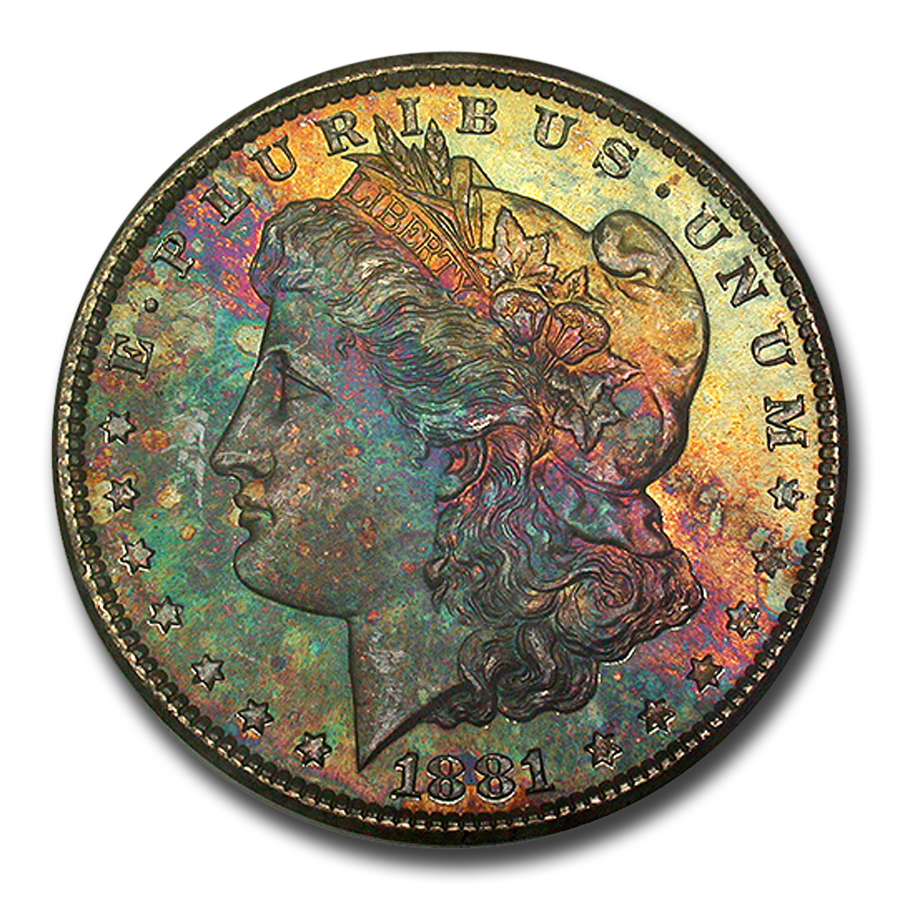 1881-S Morgan Dollar MS-65 NGC CAC Blue and Pink Toning