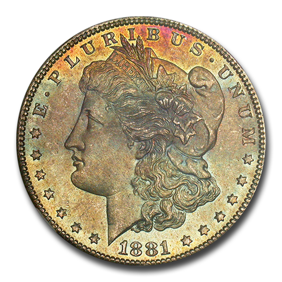 1881-S Morgan Dollar MS-65 NGC (CAC, Blue & Pink Toning)