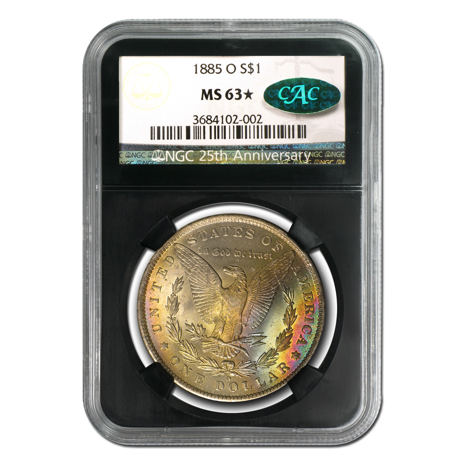 1885-O Morgan Dollar MS-63* Star NGC (Rainbow Rev, CAC)