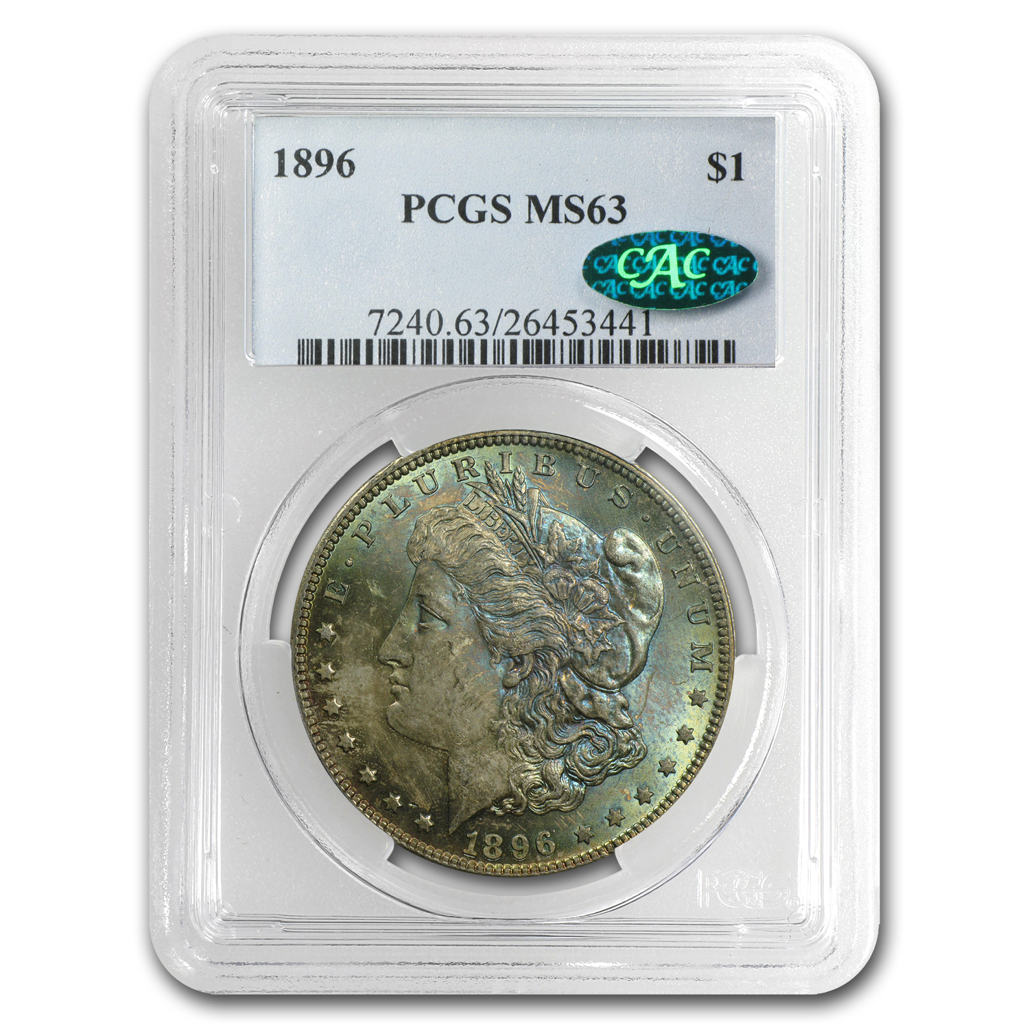1896 Morgan Dollar MS-63 NGC - Nice Toning - CAC