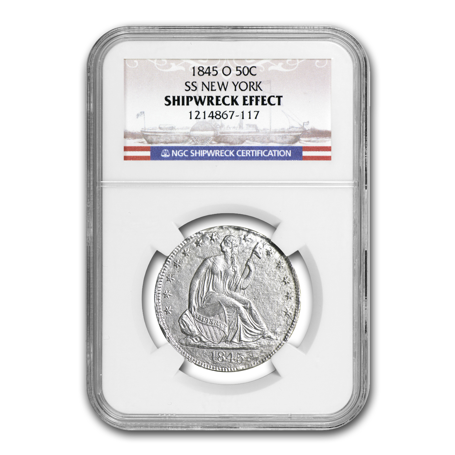 1845-O Seated Half Dollar - SS New York - NGC - Shipwreck Effect