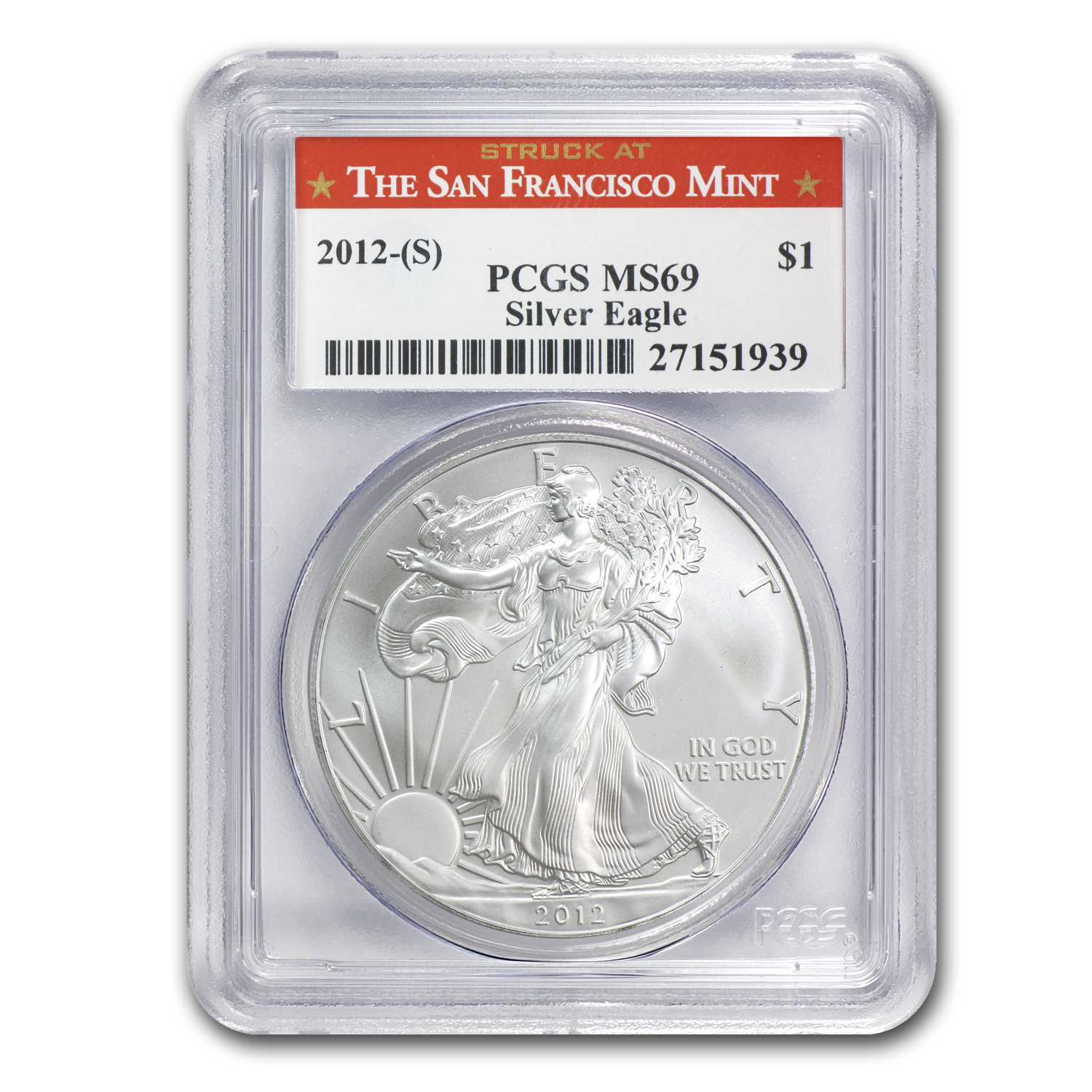 2012 (S) Silver American Eagle MS-69 PCGS (Red Label)