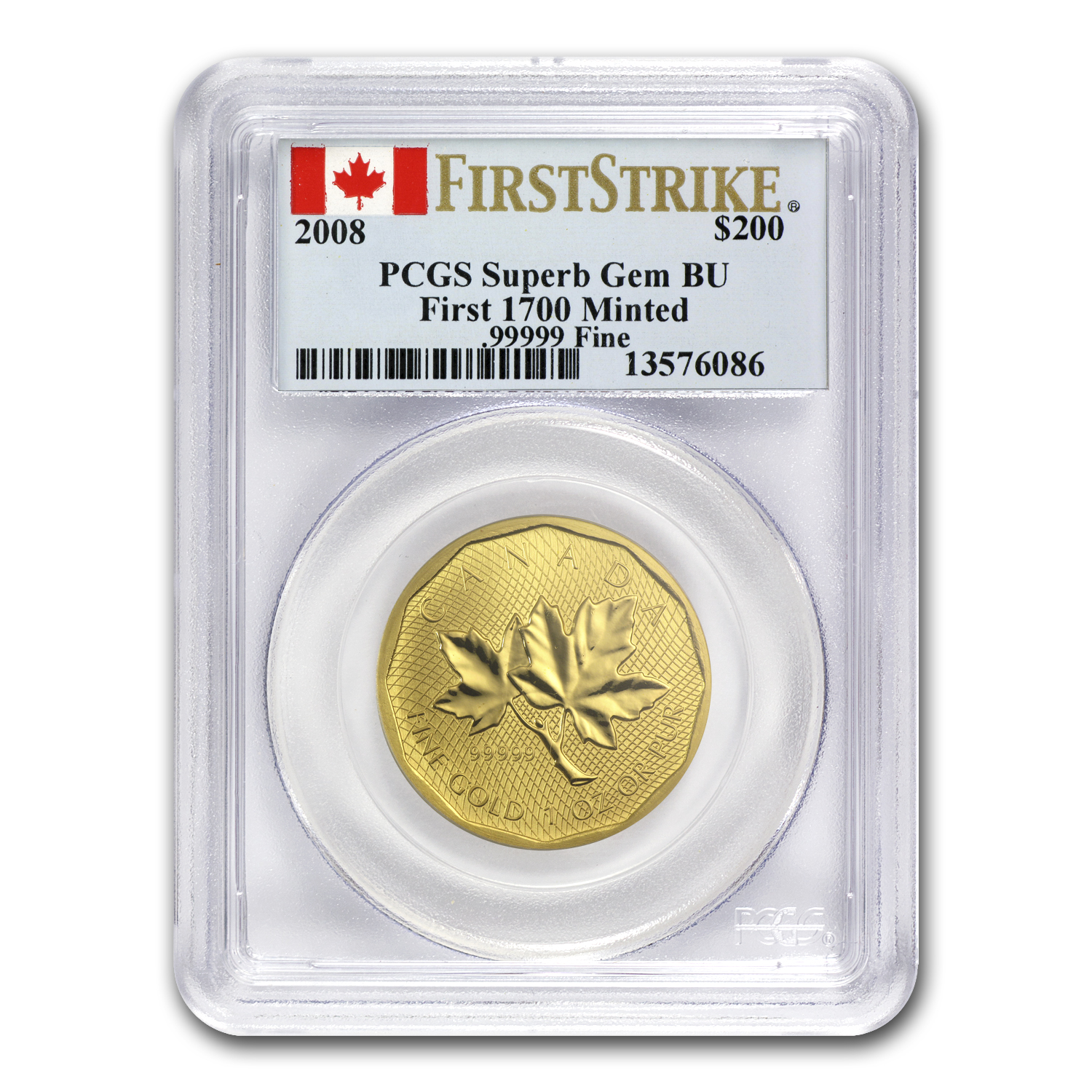 2008 1 oz Gold Canadian Maple Leaf .99999 Gem BU PCGS (FS)
