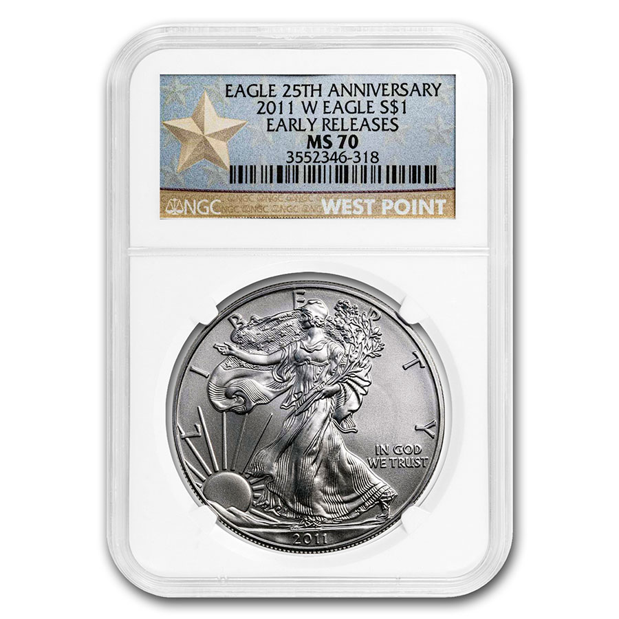 2011 (W) Silver Eagle MS-70 NGC (ER, West Point Star Label)