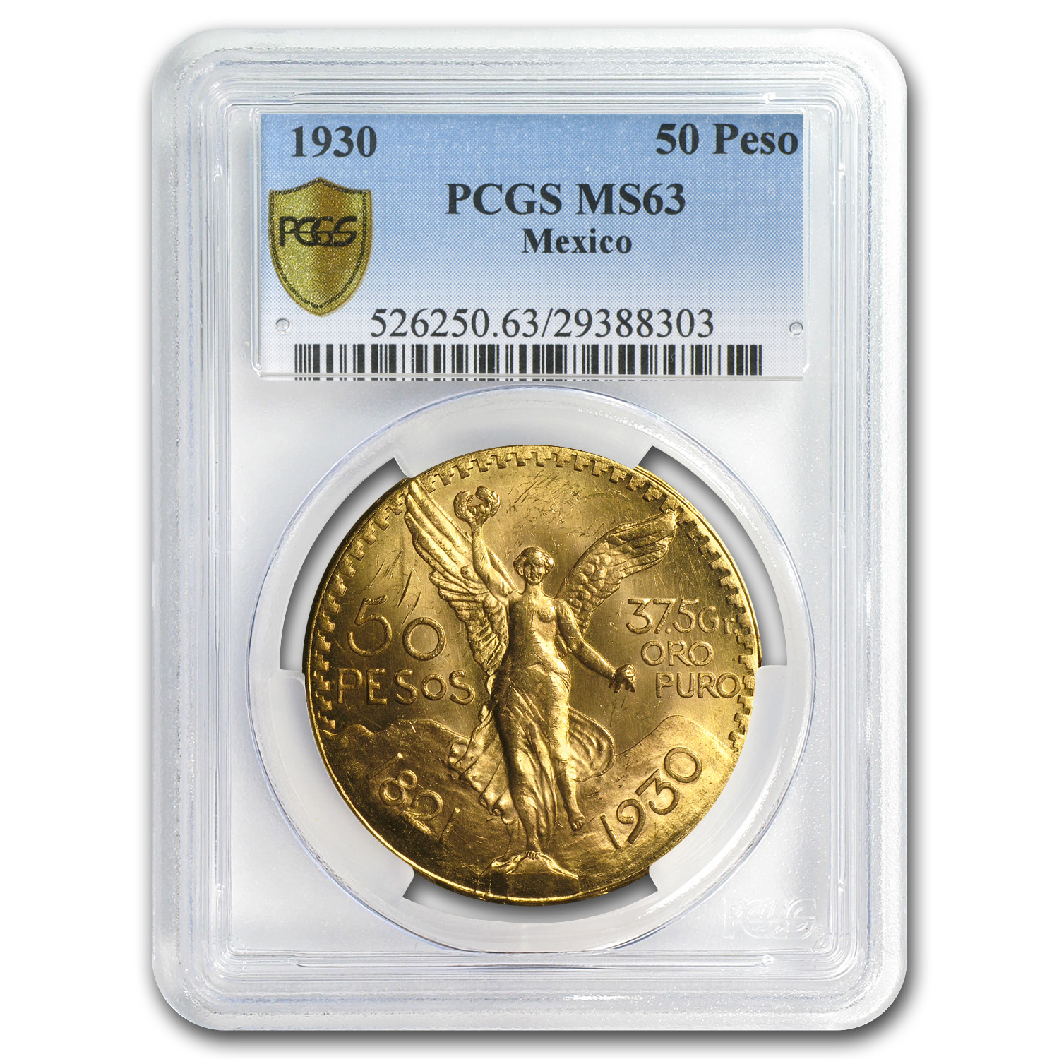 Mexico 1930 50 Pesos Gold MS-63 PCGS (Secure Plus)
