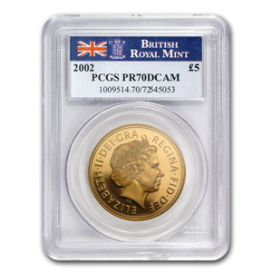 2002 Great Britain Gold £5 Queen's Jubilee PR-70 PCGS