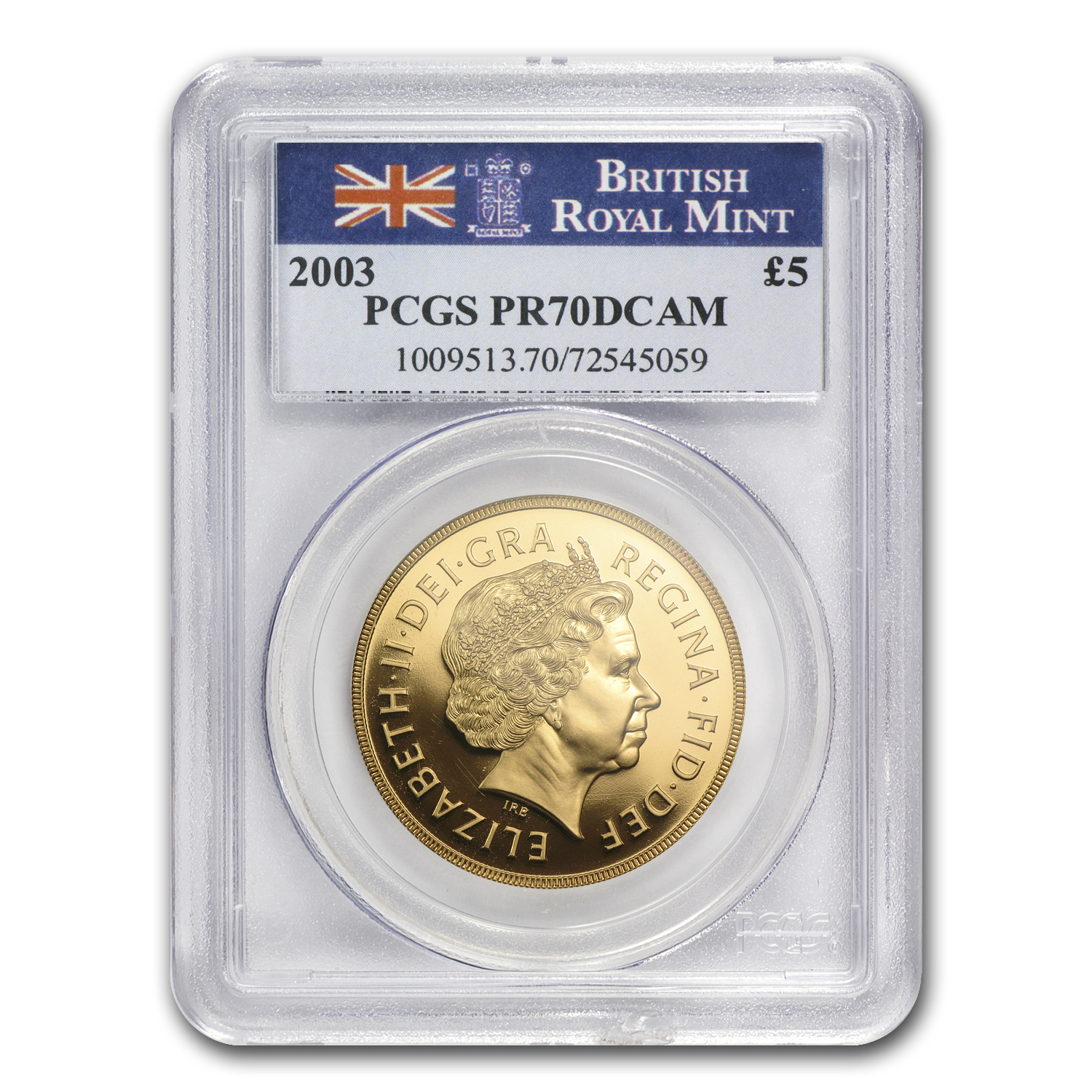 2003 Great Britain Gold £5 PR-70 PCGS