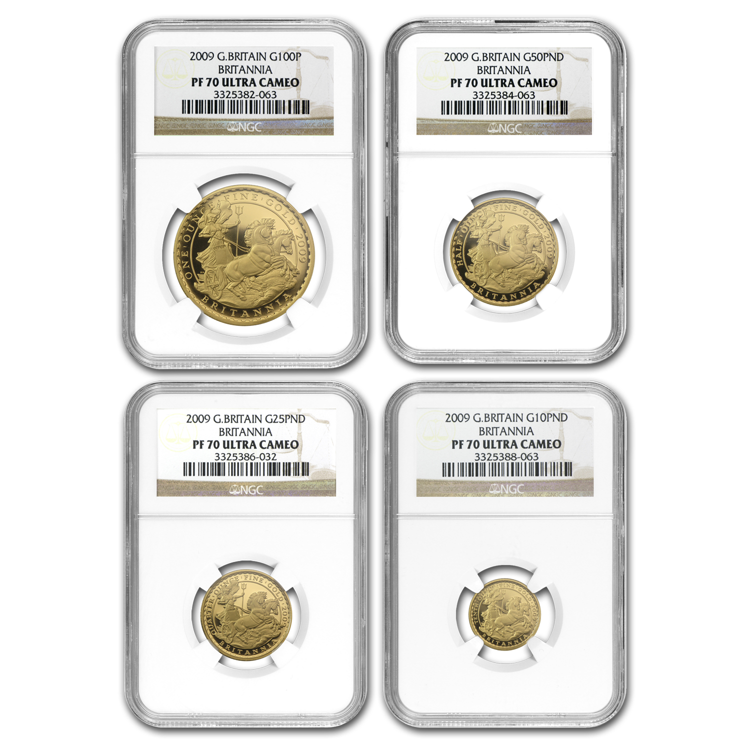 2009 4-Coin Gold Britannia Proof Set PF-70 NGC