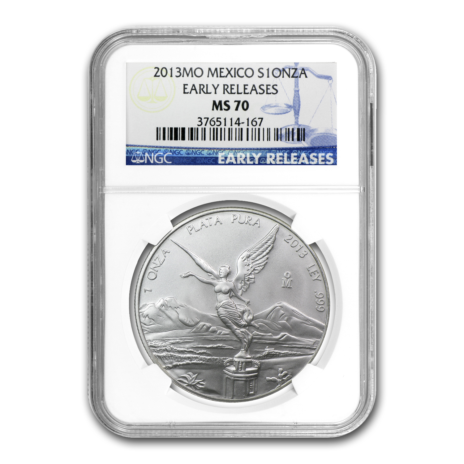 2013 1 oz Silver Mexican Libertad MS-70 NGC (Early Release)