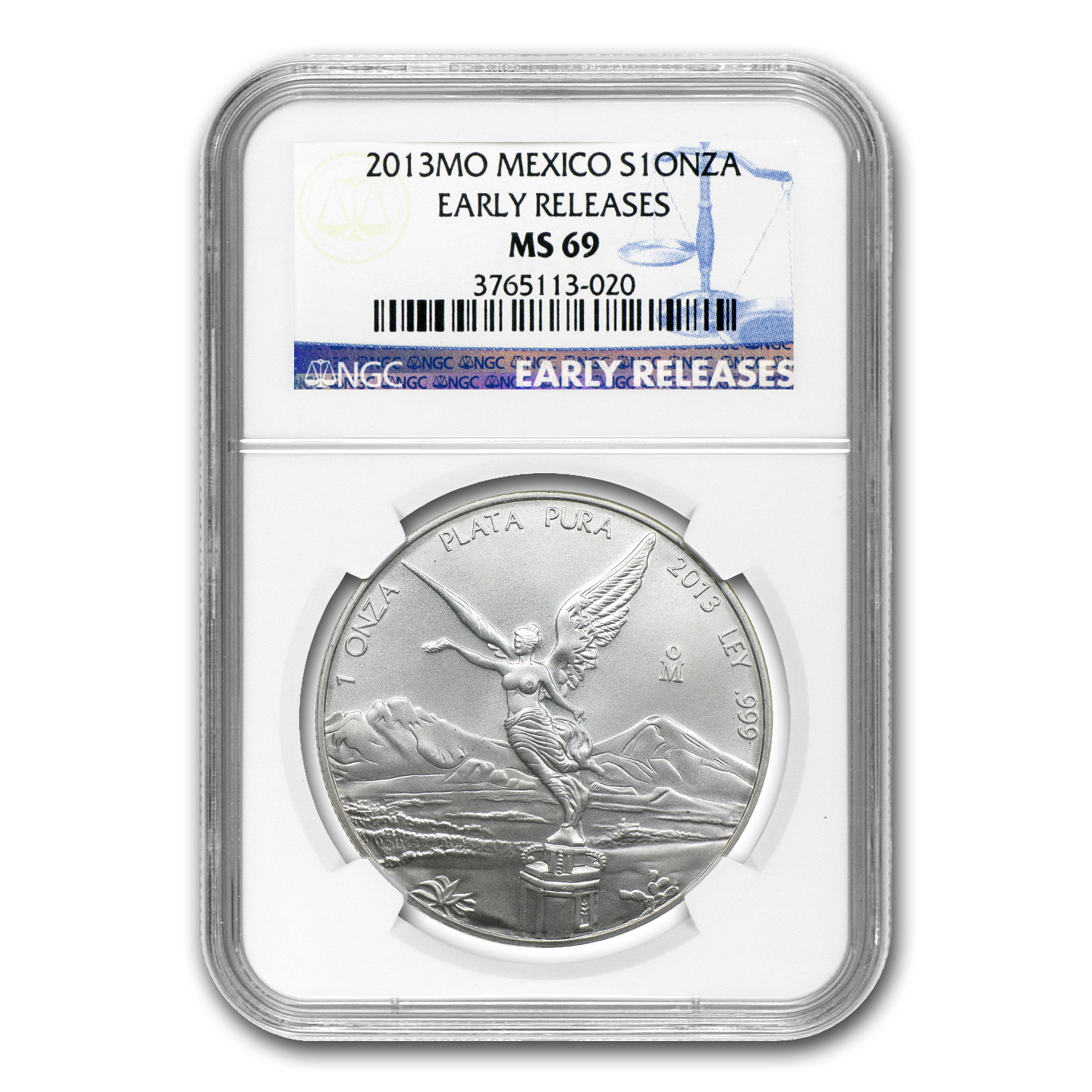 2013 1 oz Silver Mexican Libertad MS-69 NGC (Early Release)