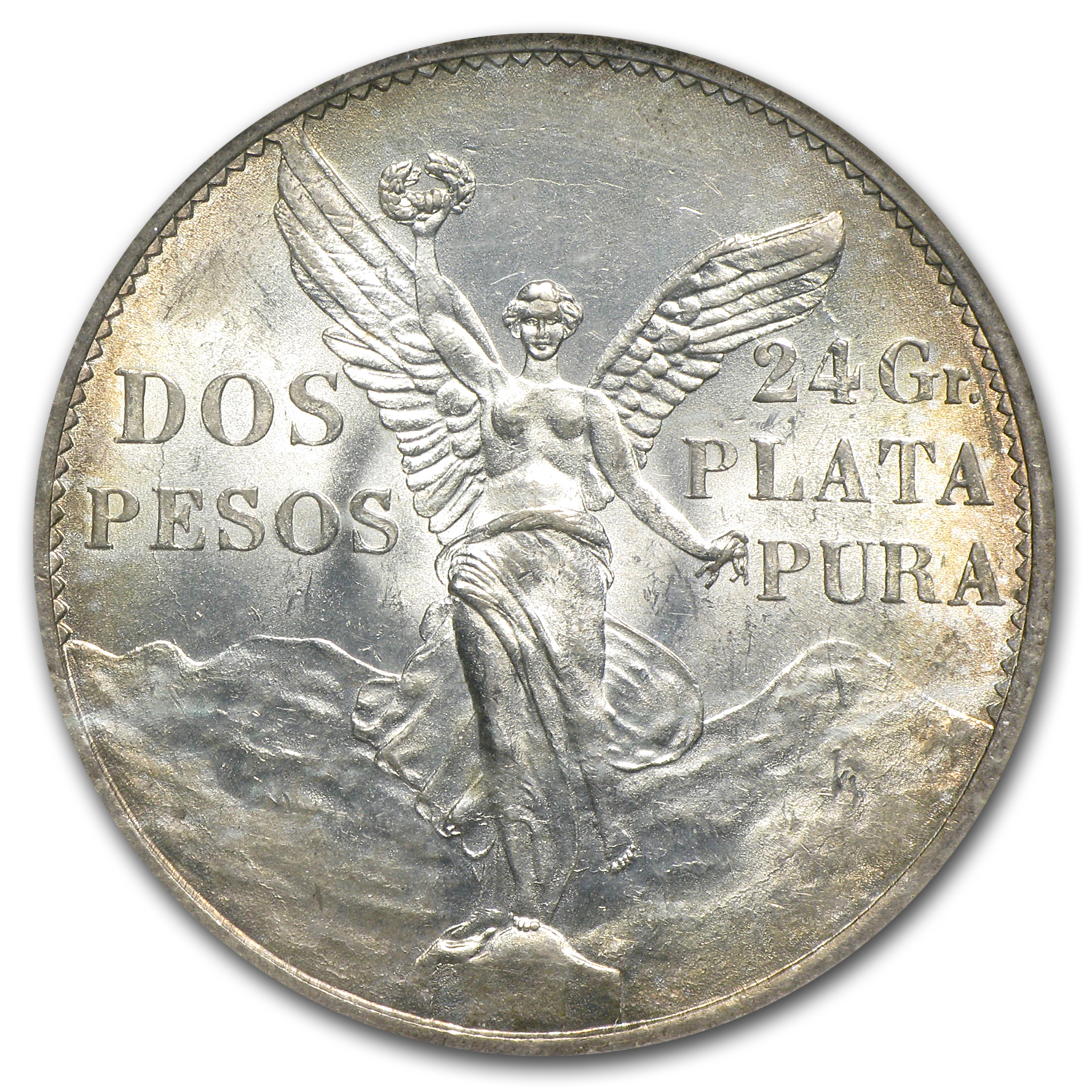 Mexico 1921 2 Pesos Silver Winged Victory MS-64 NGC