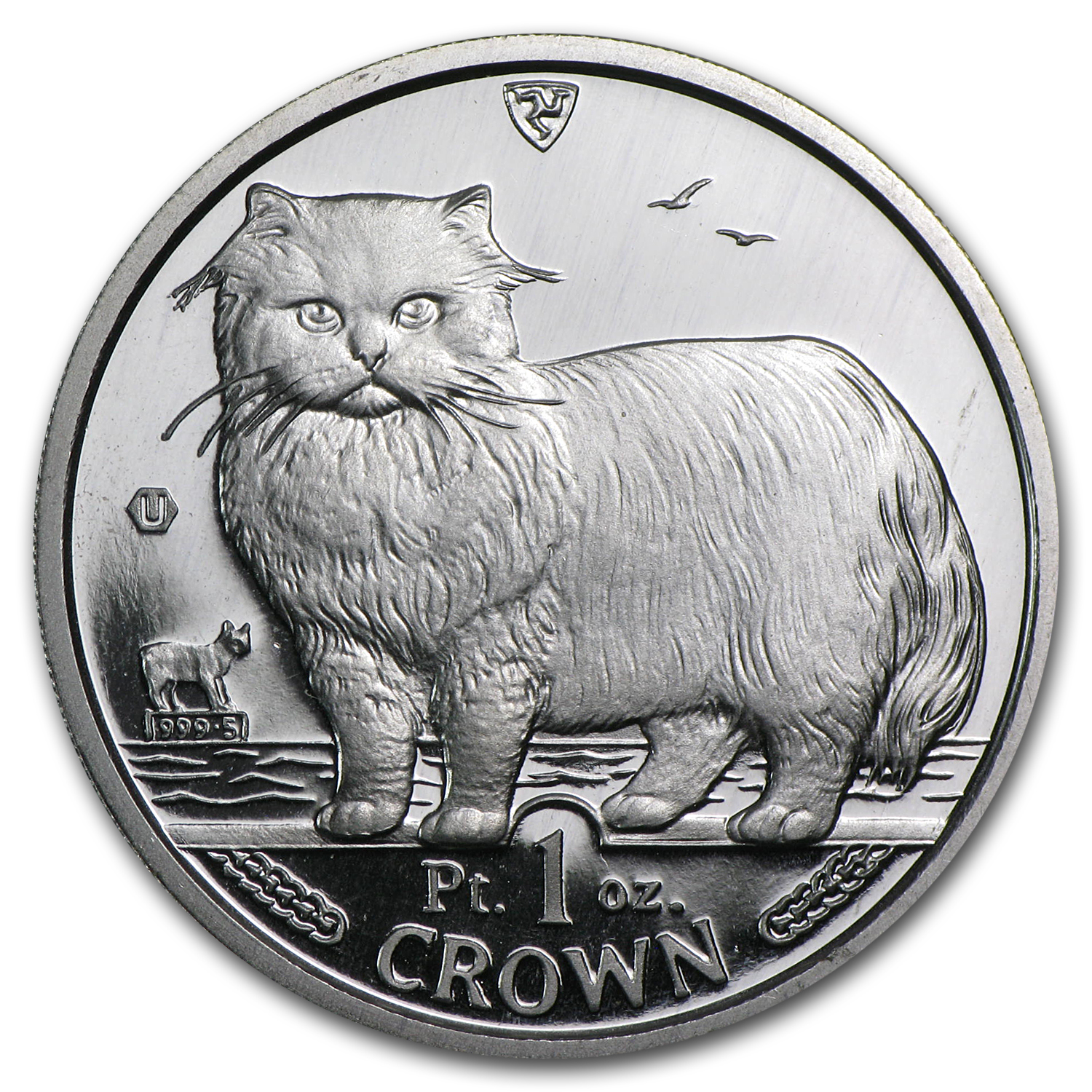 1989 Isle of Man 1 oz Platinum Persian Cat