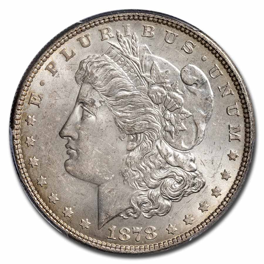 1878 Morgan Dollar - 7 TF Reverse of 1878 MS-63 PCGS