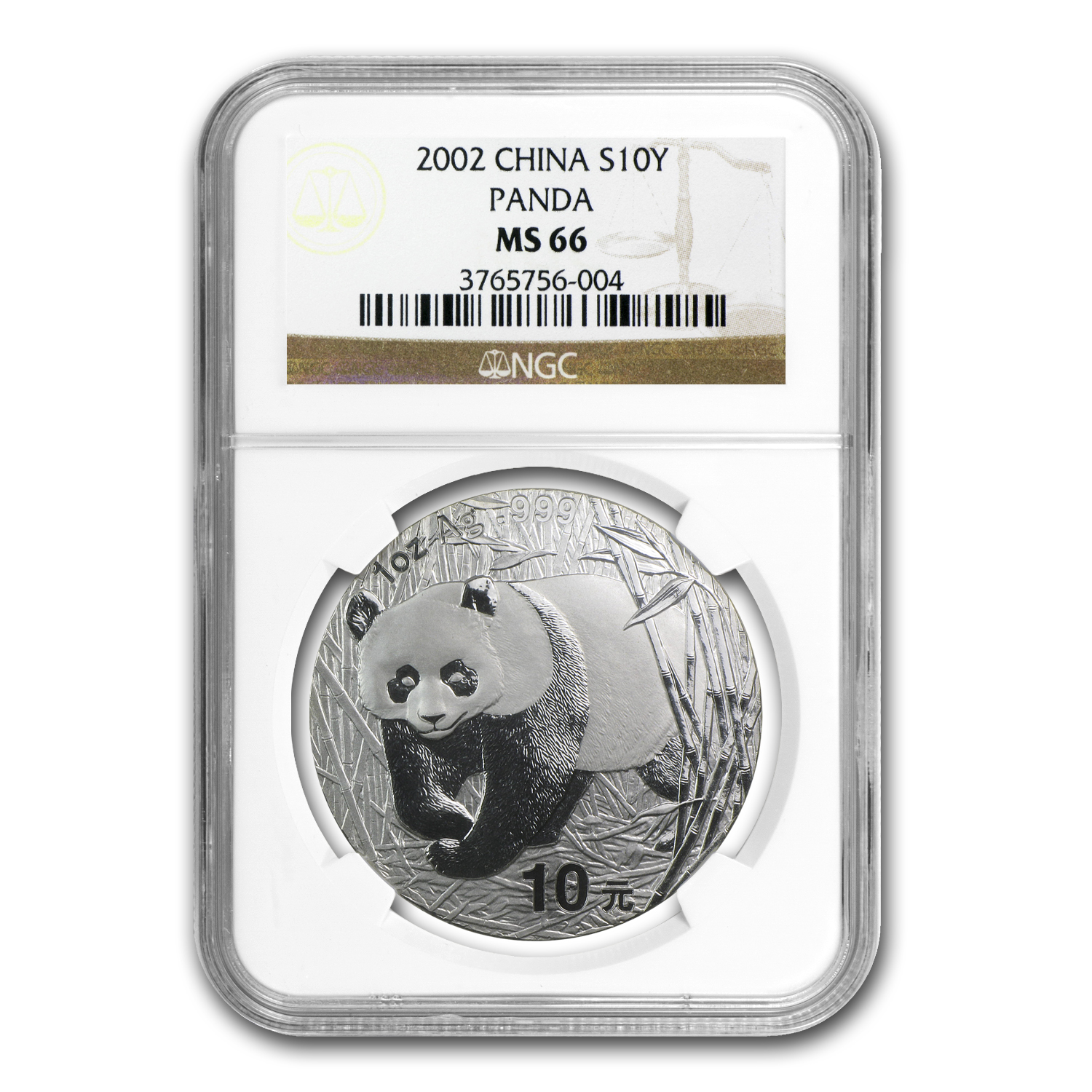 2002 China 1 oz Silver Panda MS-66 NGC