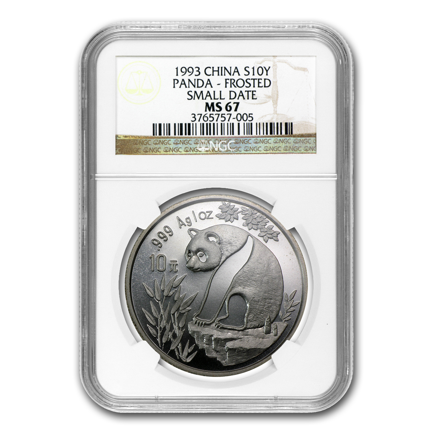 1993 1 oz Silver Chinese Panda MS-67 NGC (Small Date, Frosted)