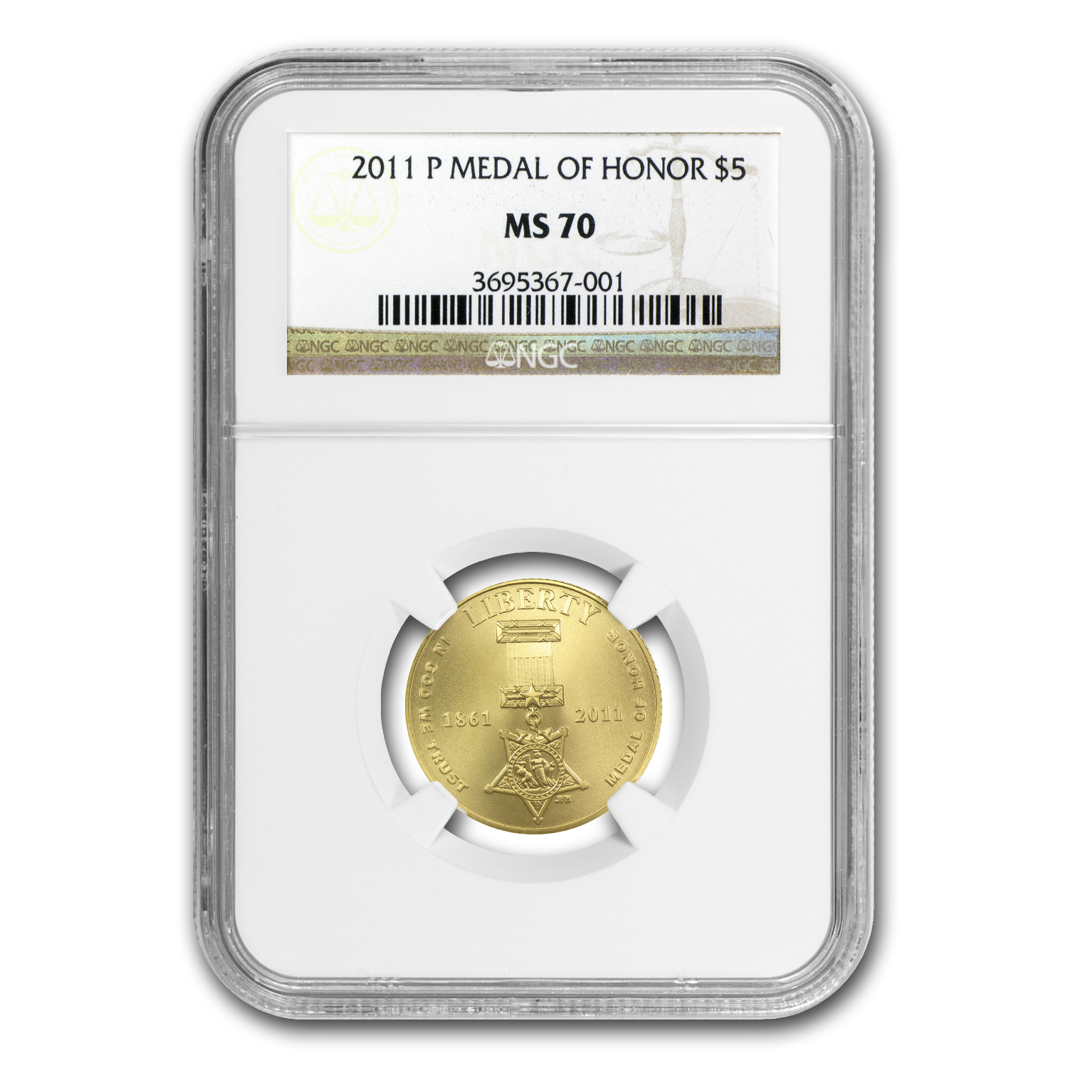 2011-P Gold $5 Commemorative Medal of Honor MS-70 NGC
