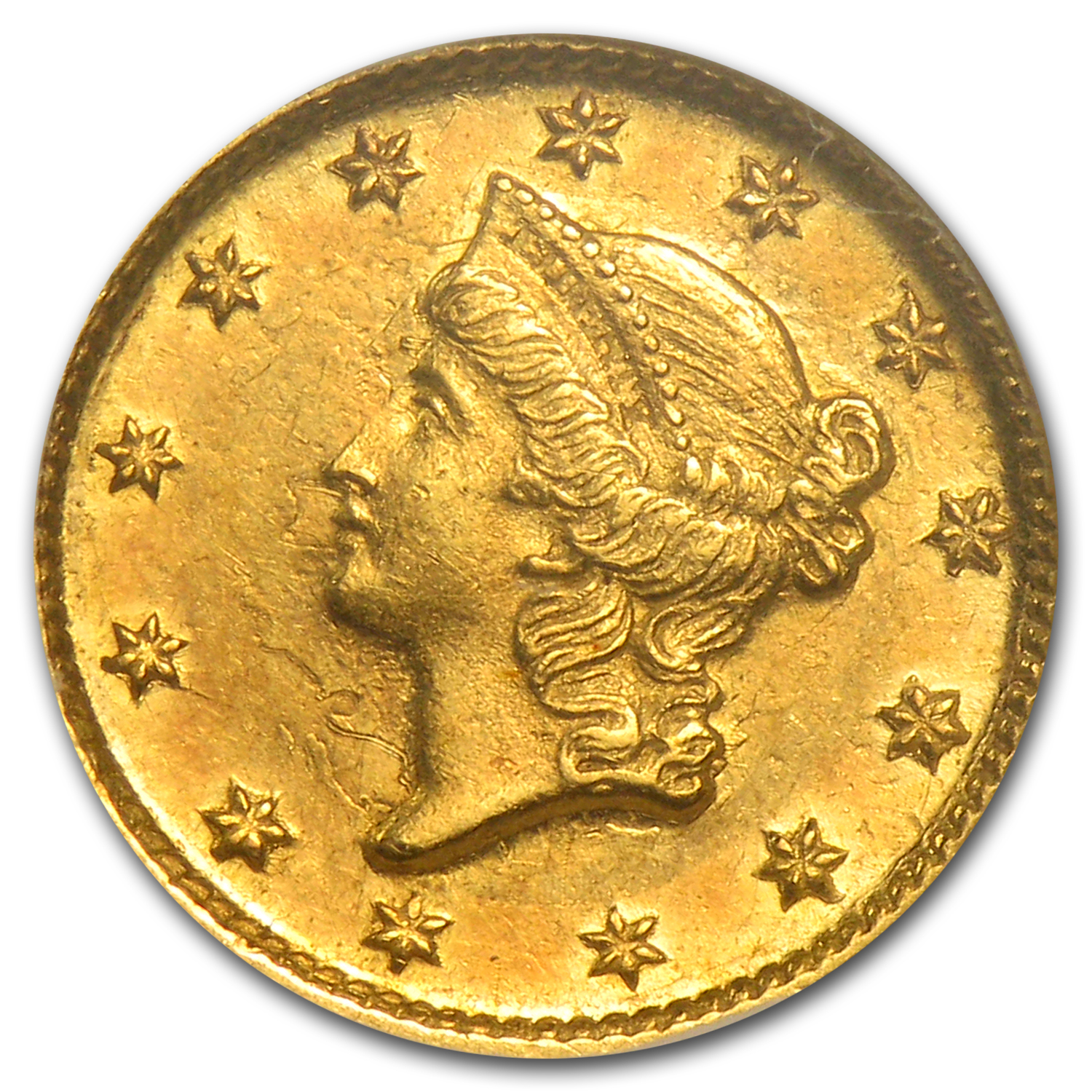 1852-D $1 Liberty Head Gold AU-58 NGC (CAC)
