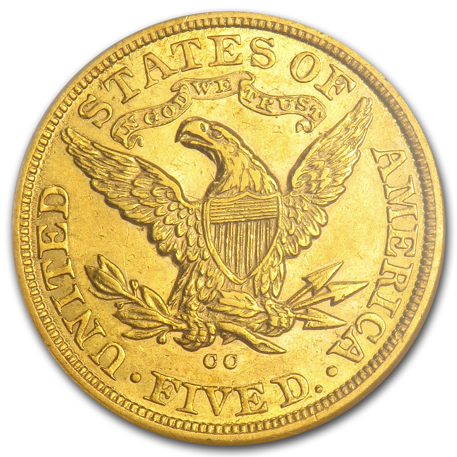 1883-CC $5 Liberty Gold Half Eagle - AU-55 NGC