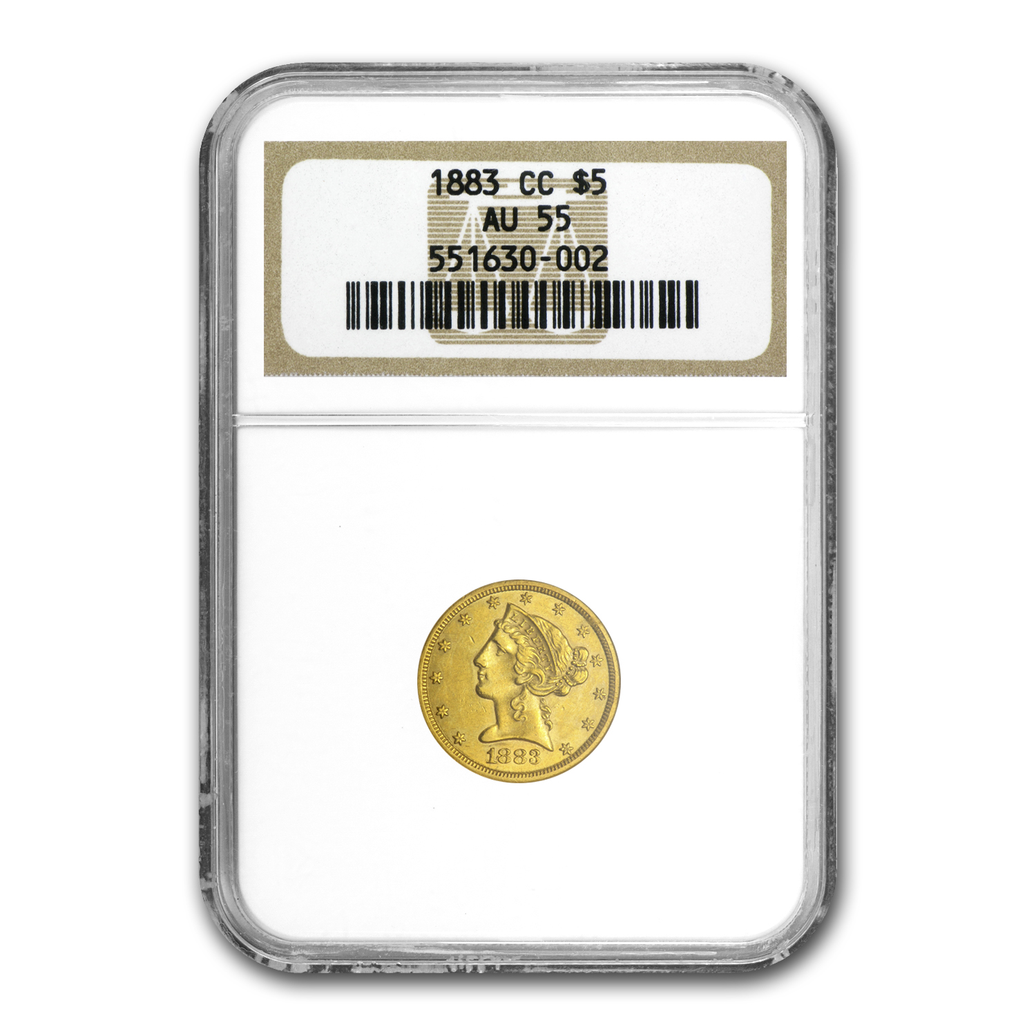 1883-CC $5 Liberty Gold Half Eagle AU-55 NGC