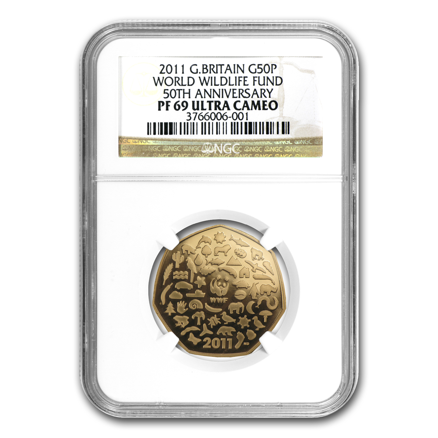 2011 Great Britain 50P Gold WWF 50th Anniv. - PF-69 UCAM NGC