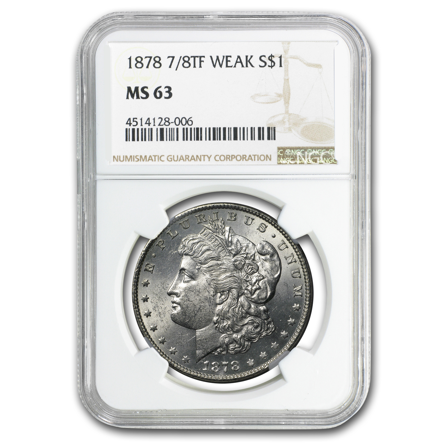 1878 Morgan Dollar 7/8 TF MS-63 NGC (Weak)
