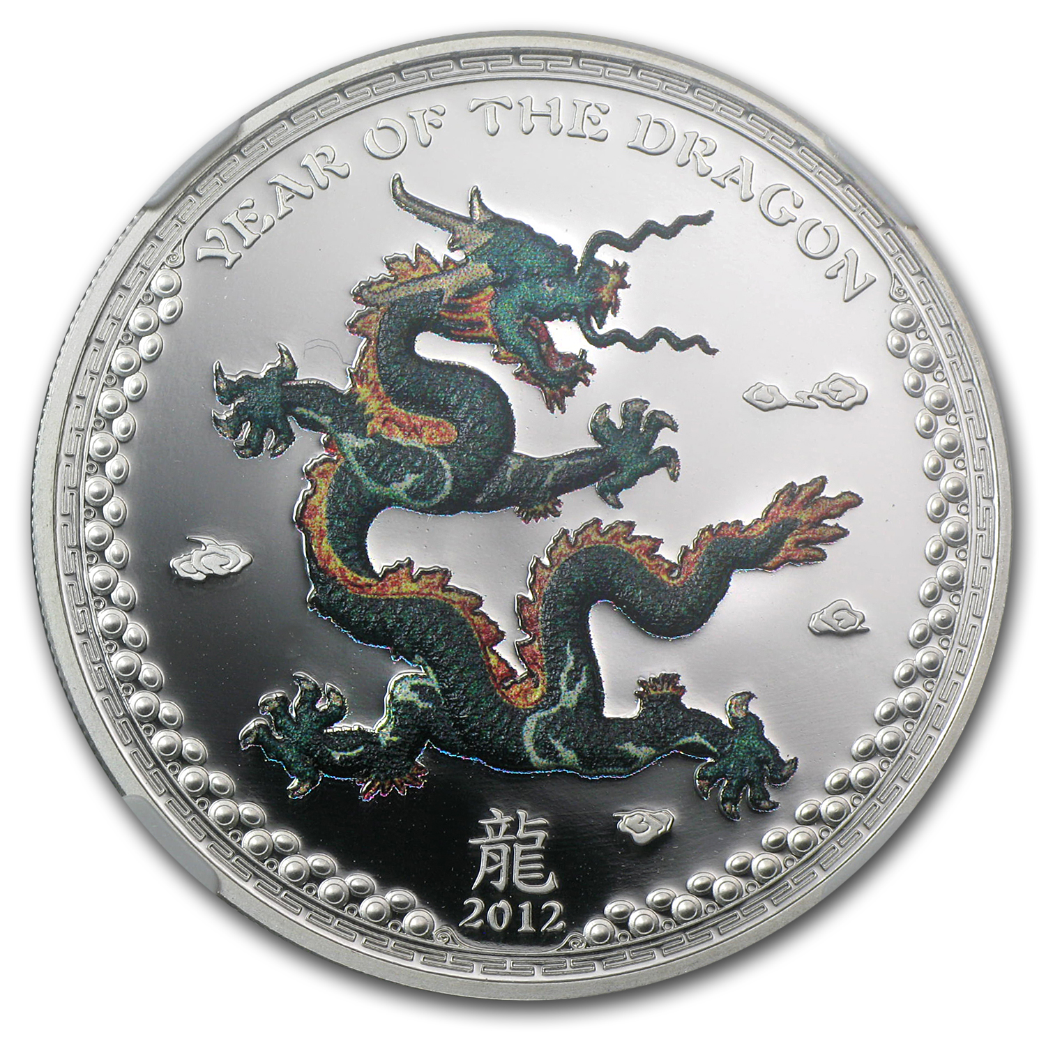 2012 Palau $5 Silver Dragon Green Colorized (Right) NGC PF-69 UC